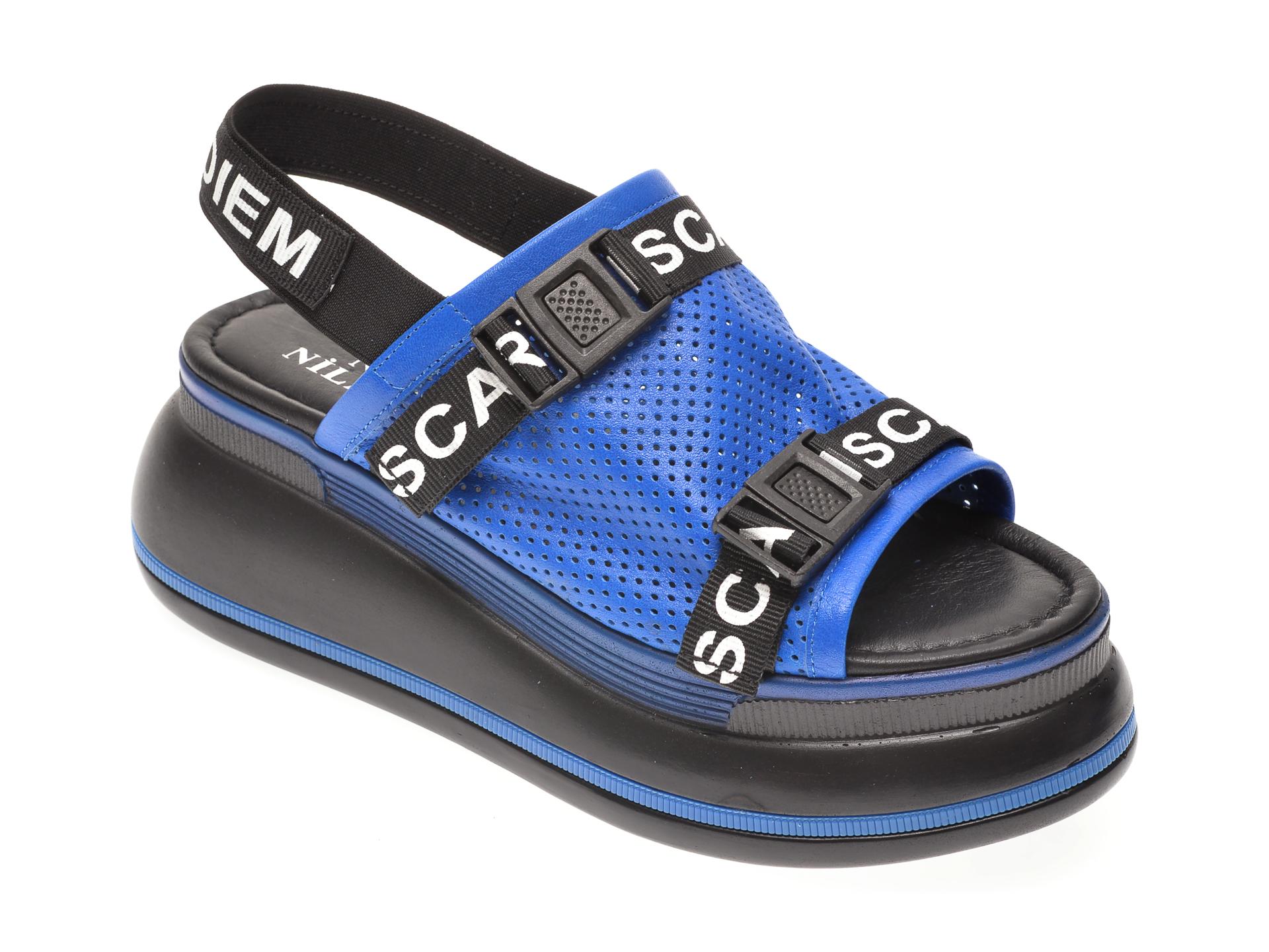 Sandale NIZ NILAYDA albastre, 2459, din piele naturala