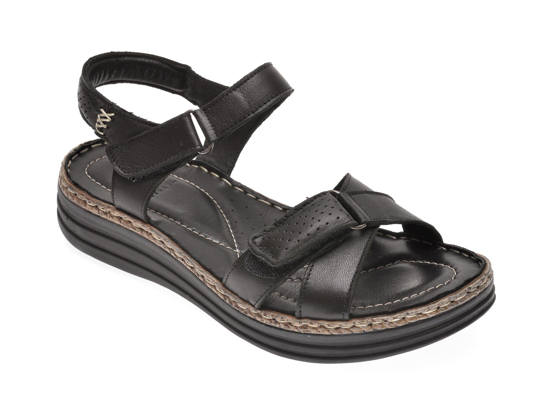 Sandale ON THE ROAD negre, 502, din piele naturala