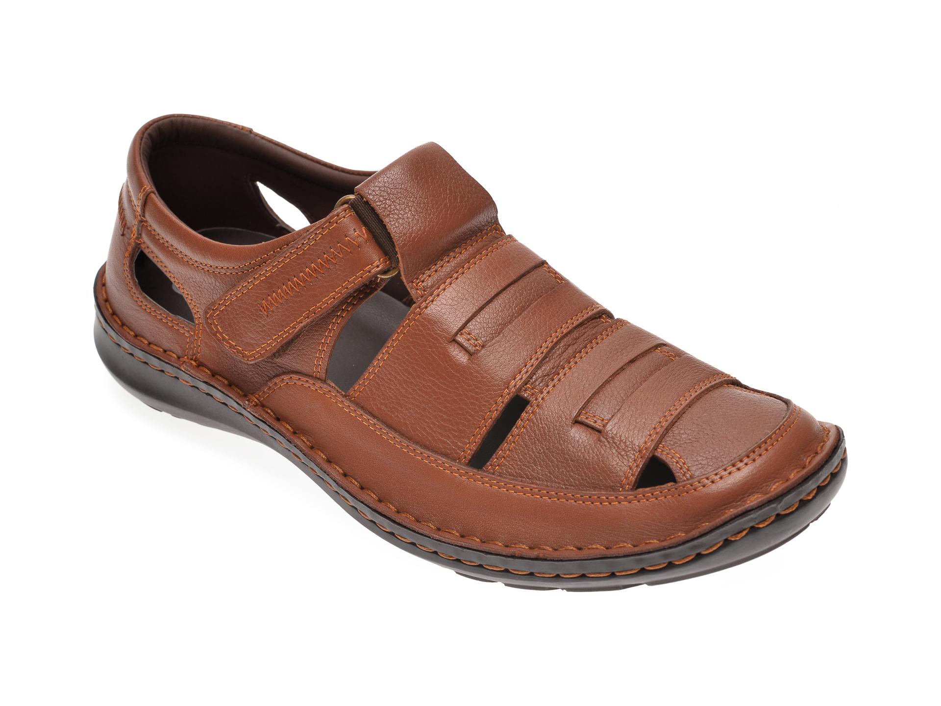 Sandale OTTER maro, 9562, din piele naturala imagine