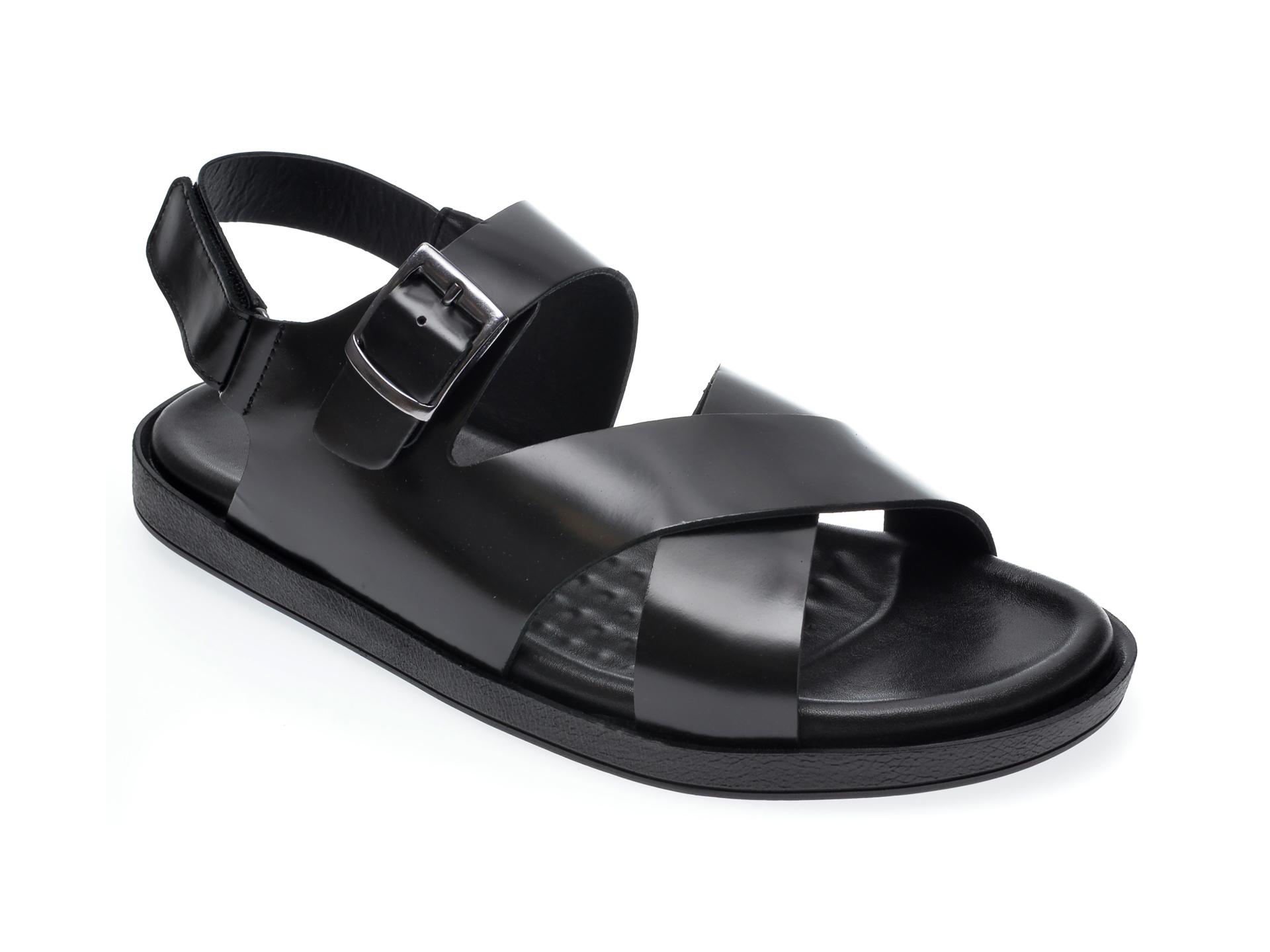 Sandale OTTER negre, 101, din piele naturala imagine