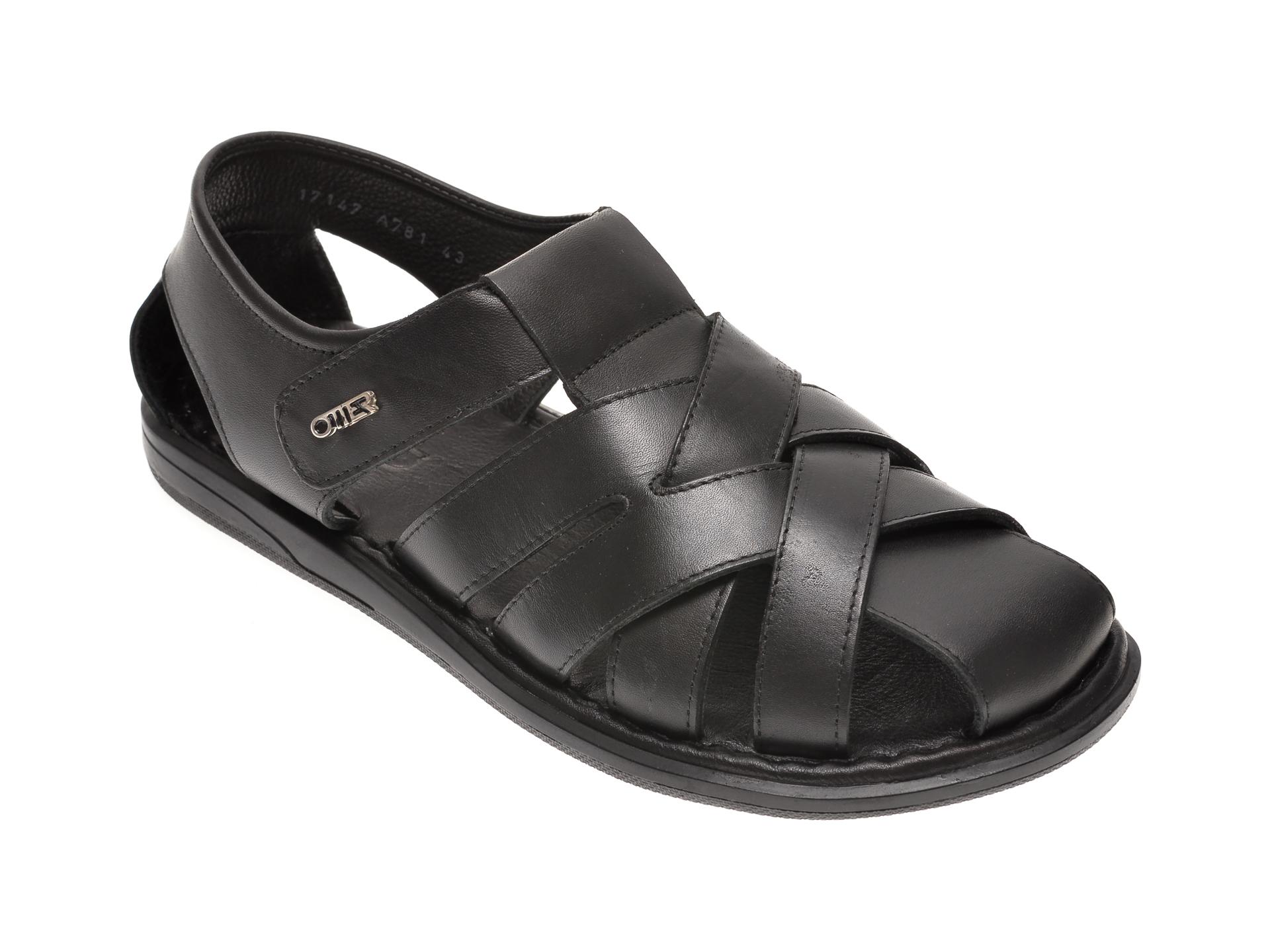Sandale OTTER negre, 17147, din piele naturala imagine