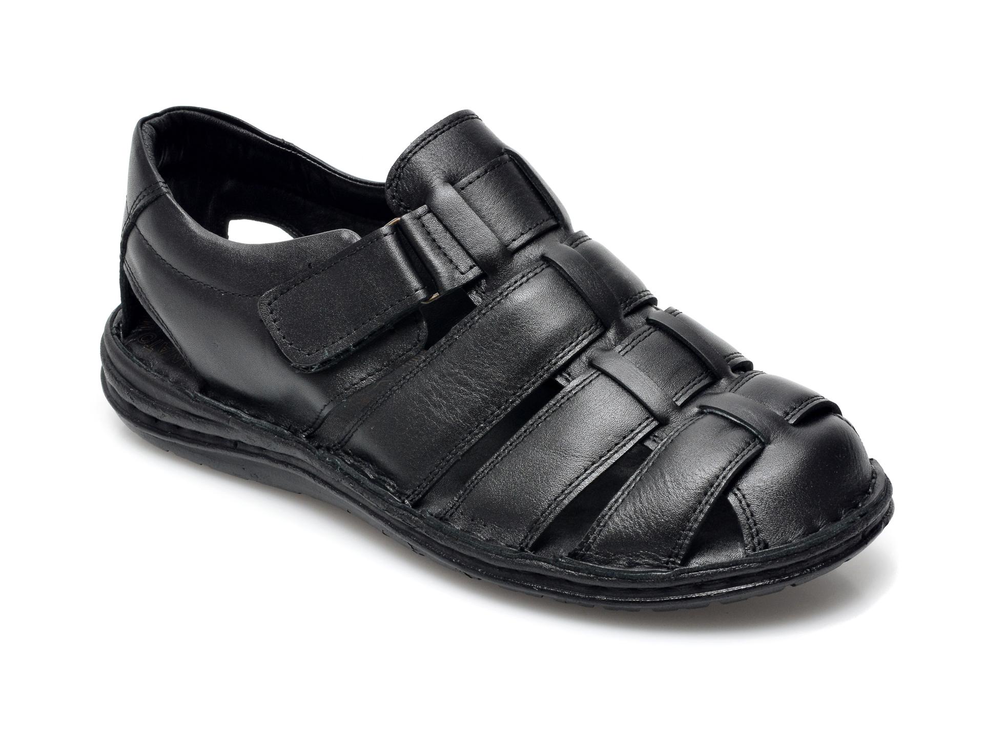 Sandale OTTER negre, 180S, din piele naturala imagine
