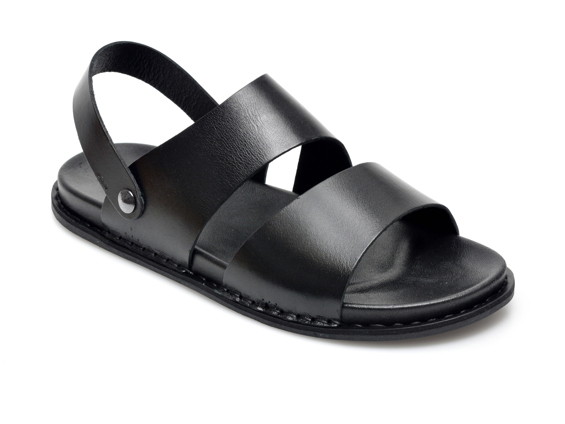 Sandale OTTER negre, 312, din piele naturala imagine