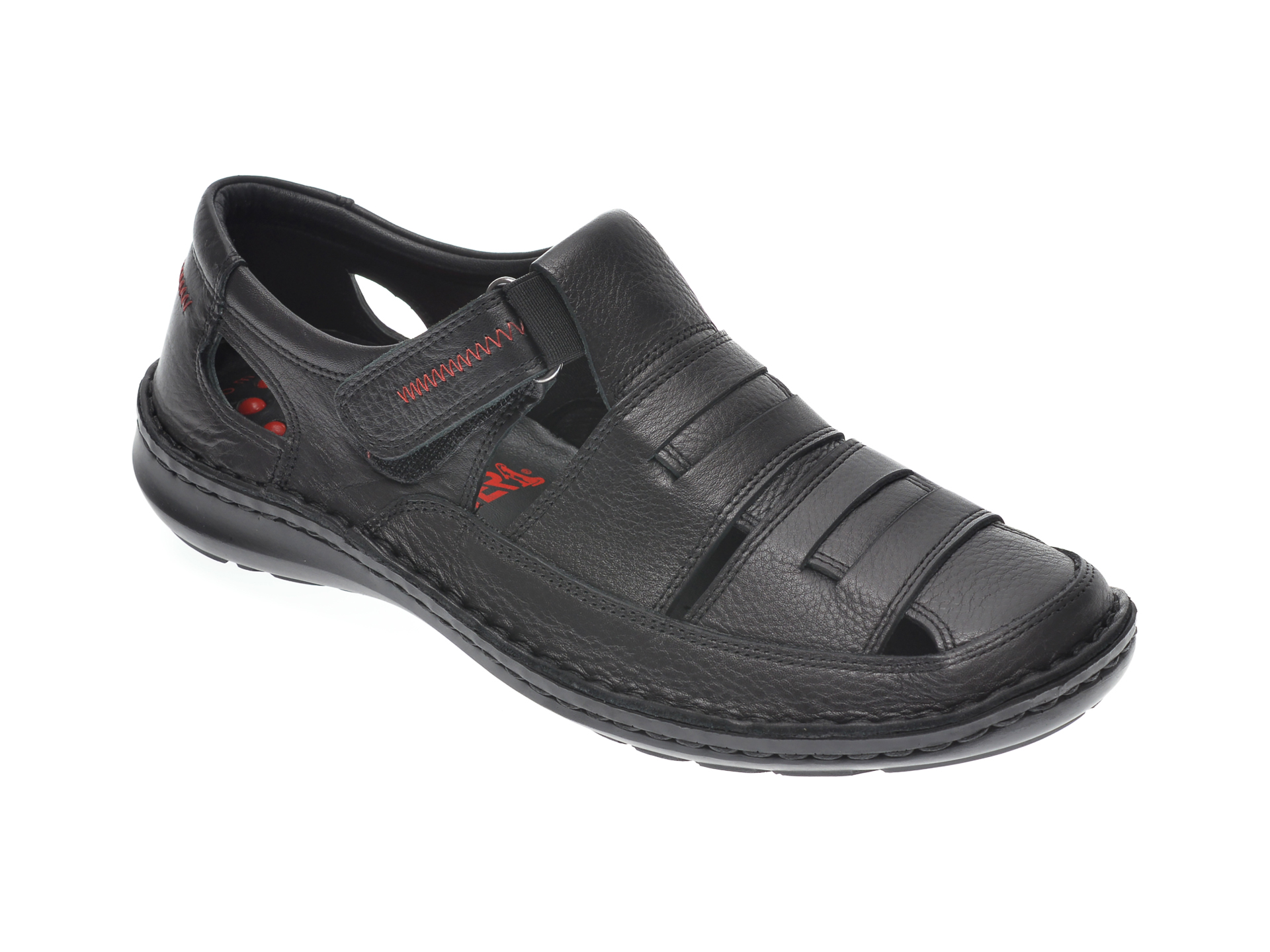 Sandale OTTER negre, 9562, din piele naturala imagine