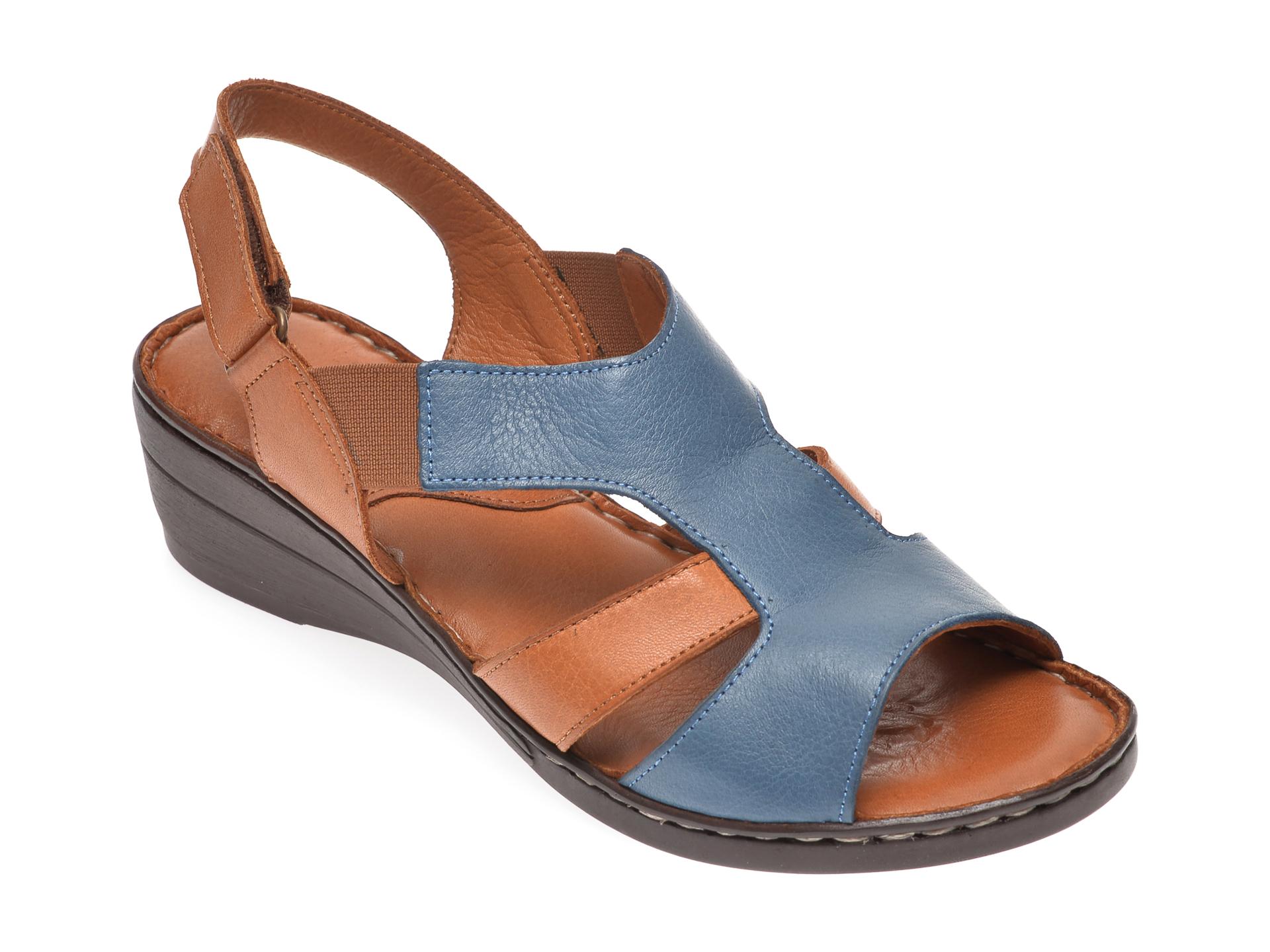 Sandale PASS COLLECTION albastre, 411, din piele naturala