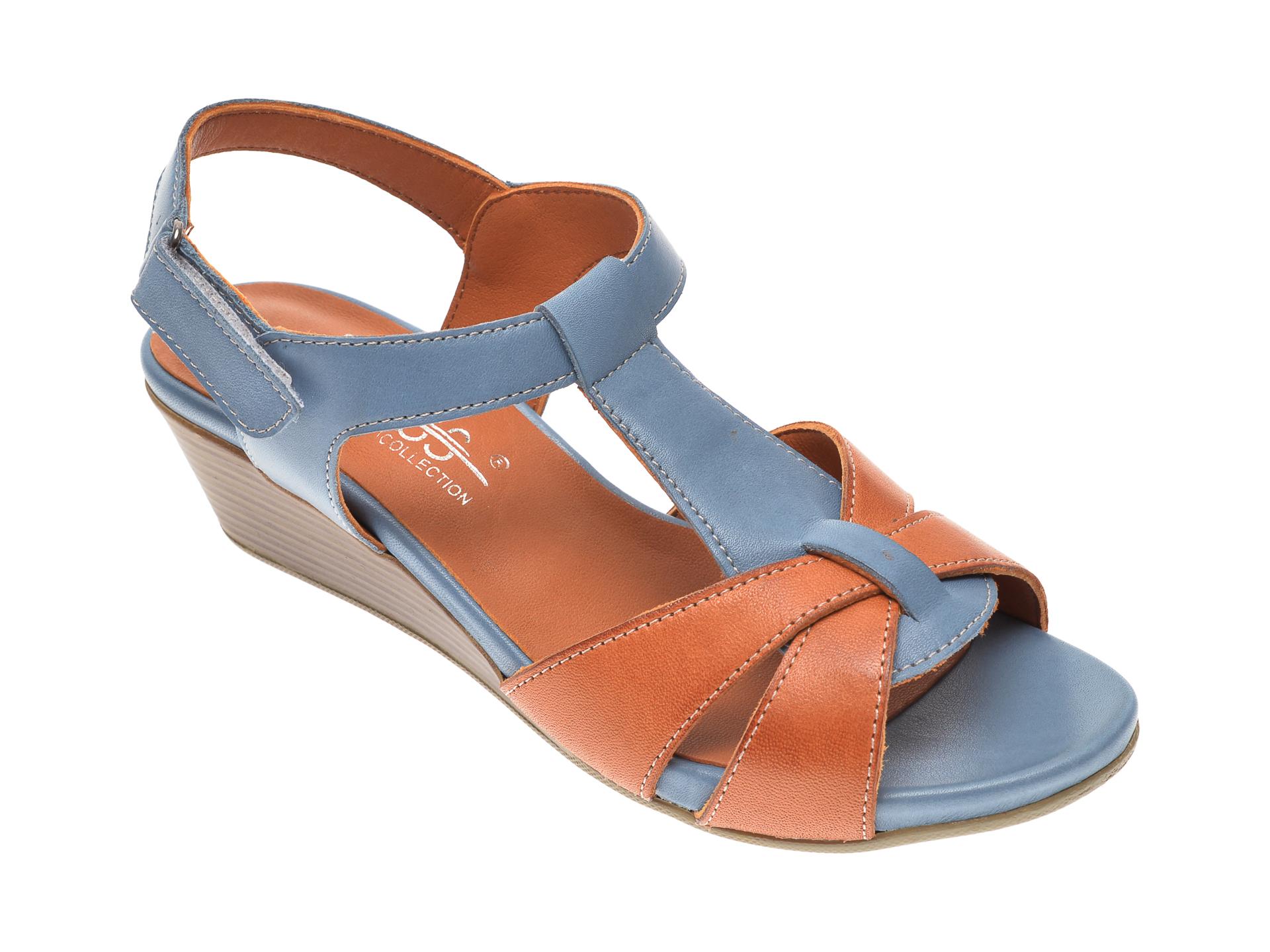 Sandale PASS COLLECTION albastre, 6043, din piele naturala