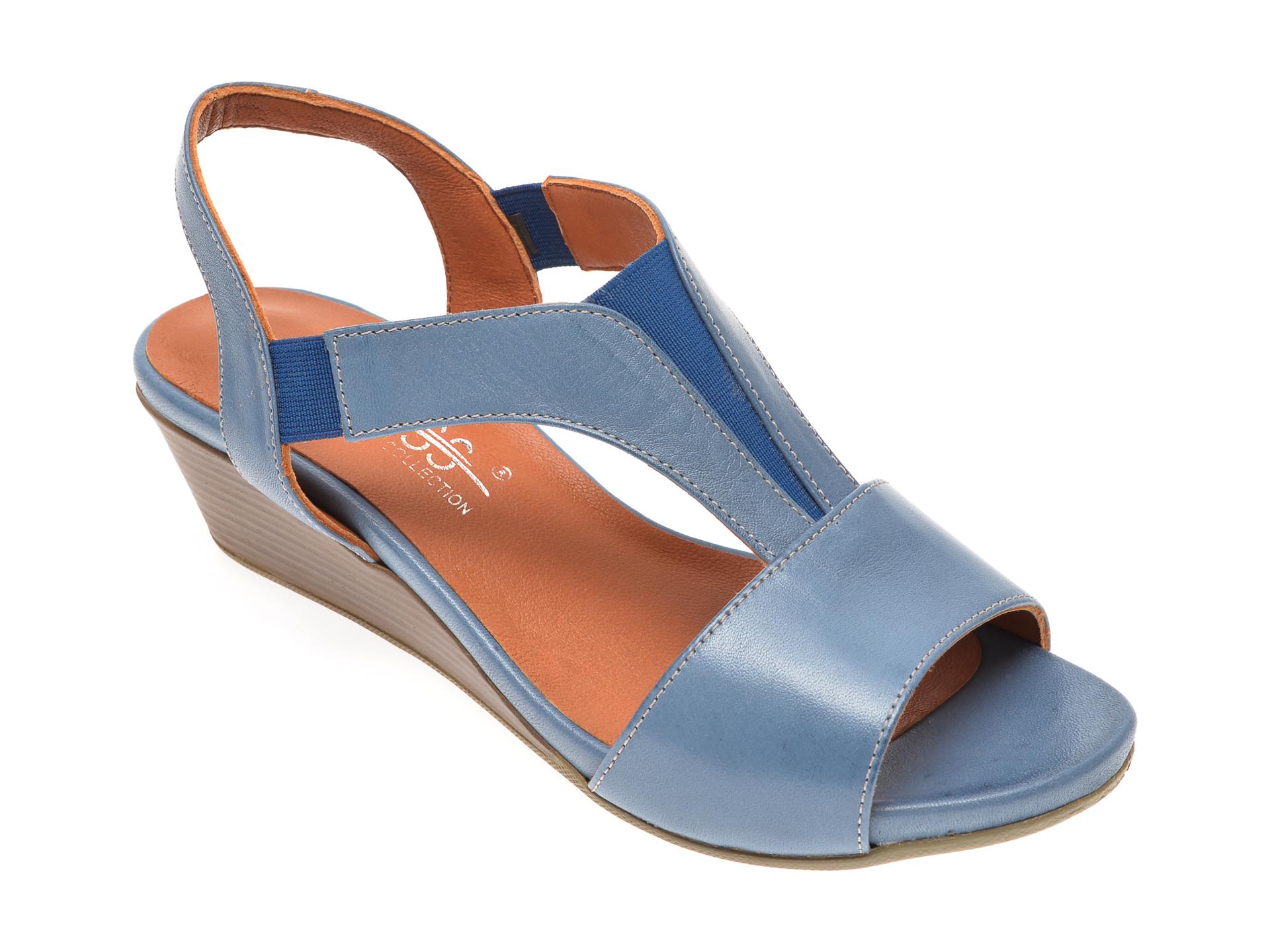 Sandale PASS COLLECTION albastre, 6073, din piele naturala