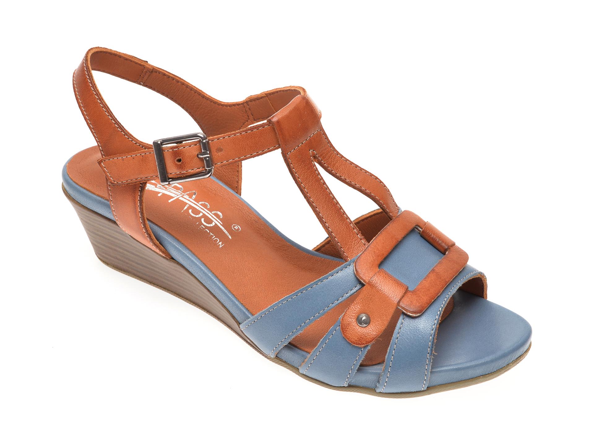 Sandale PASS COLLECTION albastre, 6133, din piele naturala