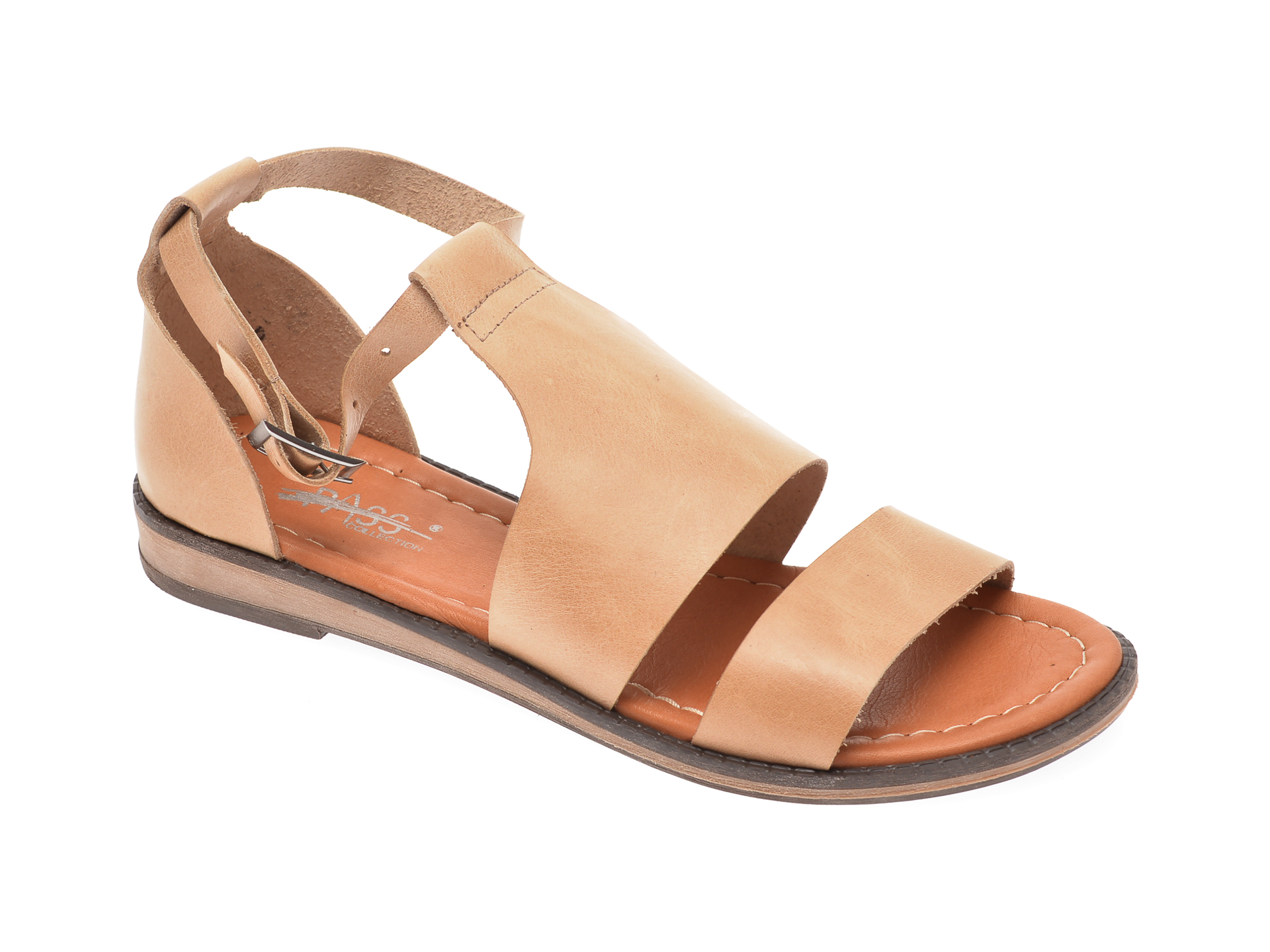 Sandale PASS COLLECTION bej, 1004K, din piele naturala