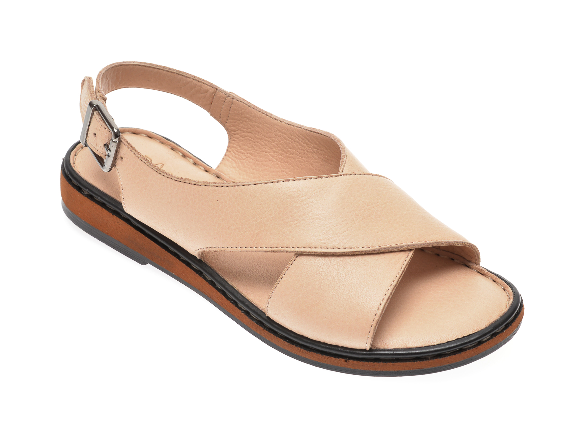 Sandale PASS COLLECTION bej, 1203, din piele naturala New