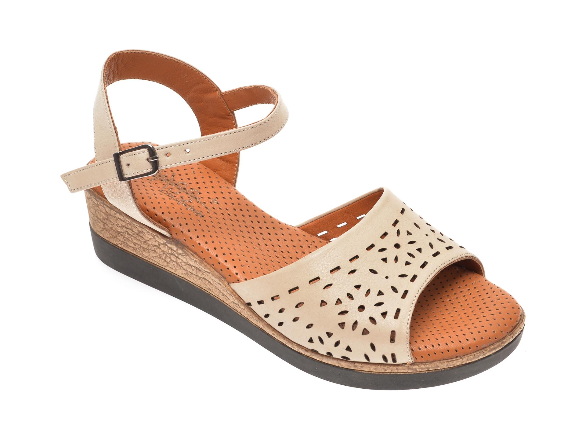 Sandale PASS COLLECTION bej, 2011, din piele naturala
