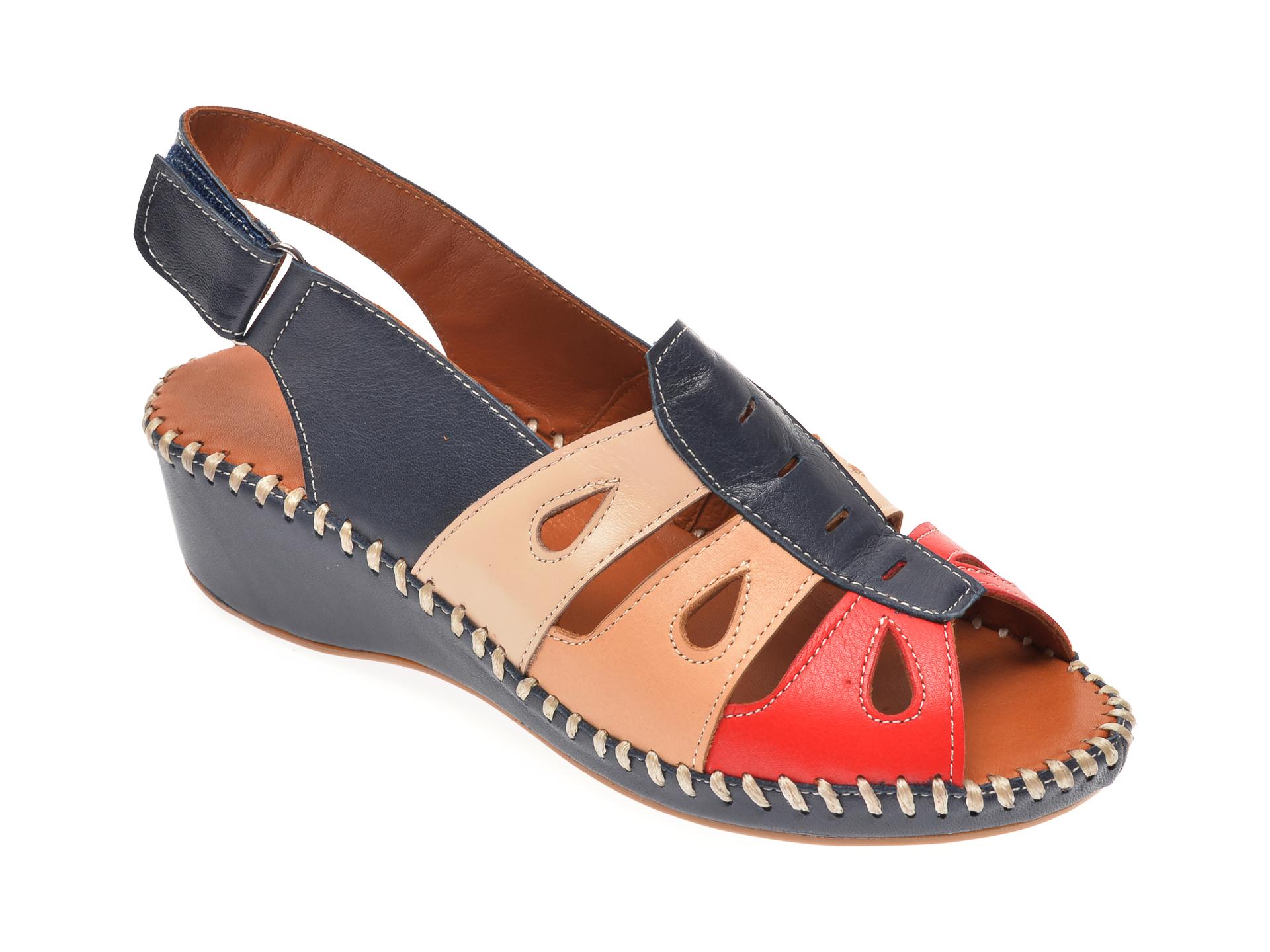 Sandale PASS COLLECTION bleumarin, 3166, din piele naturala