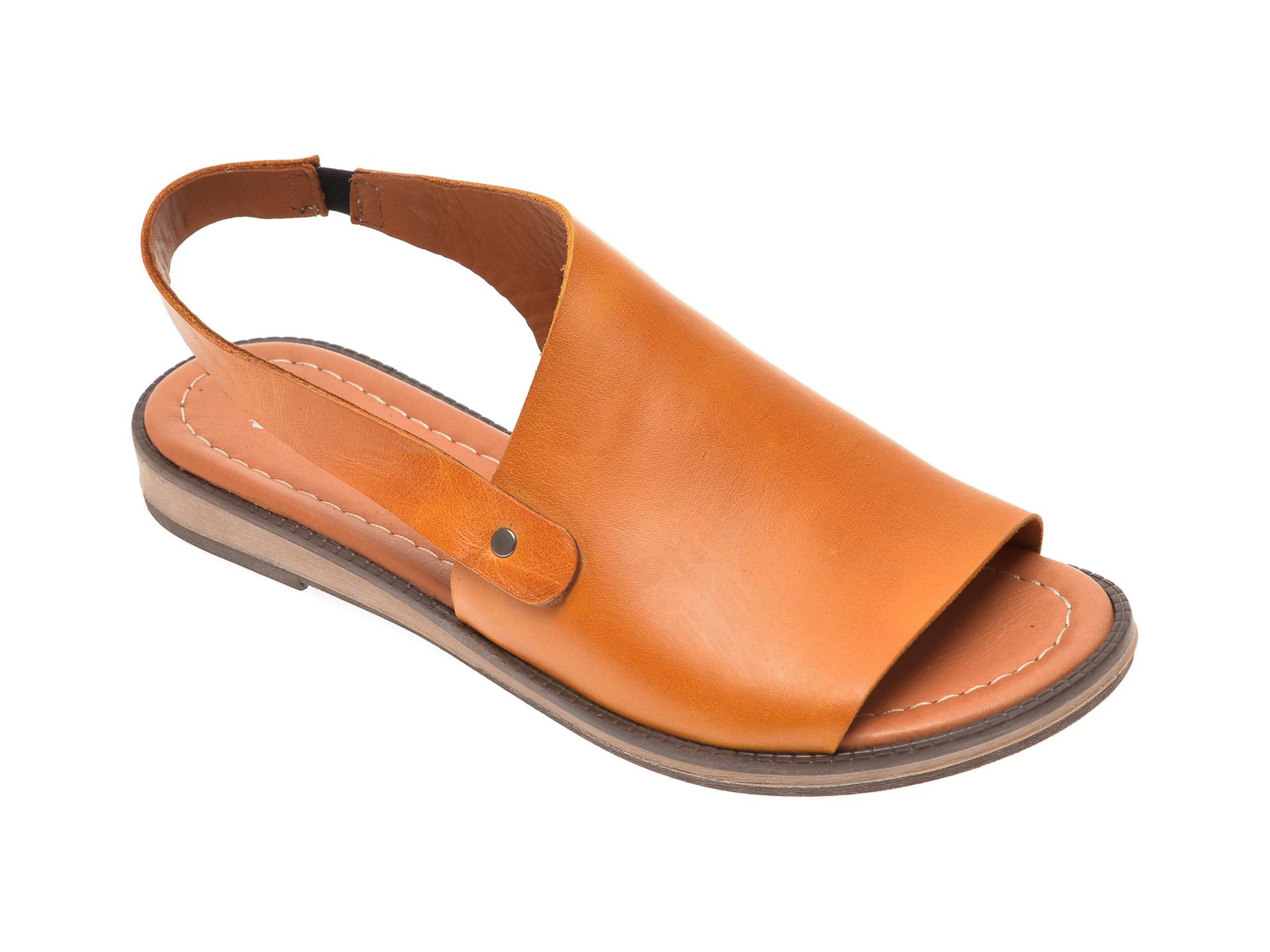 Sandale PASS COLLECTION galbene, 1017K, din piele naturala