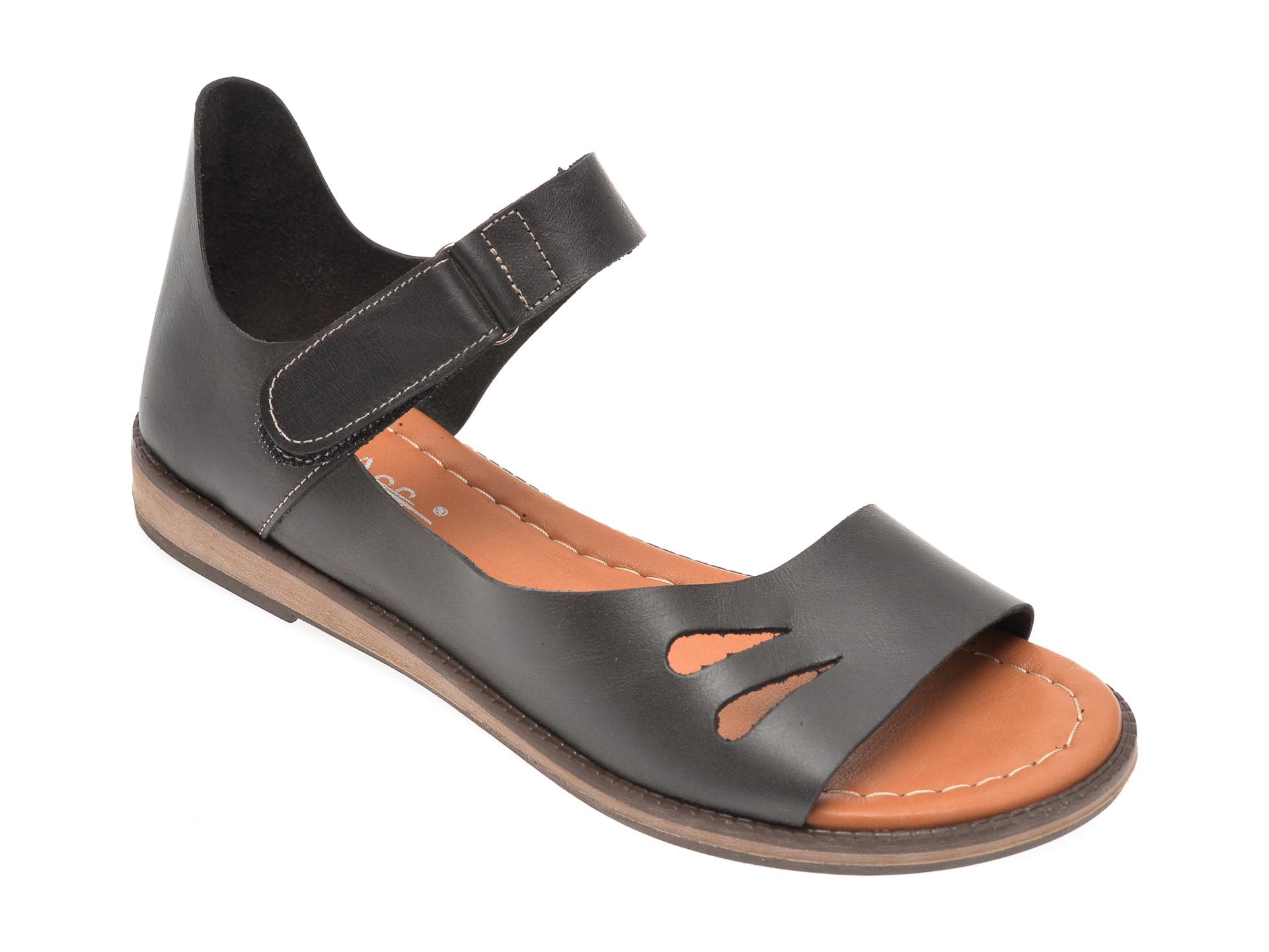 Sandale PASS COLLECTION negre, 1000K, din piele naturala