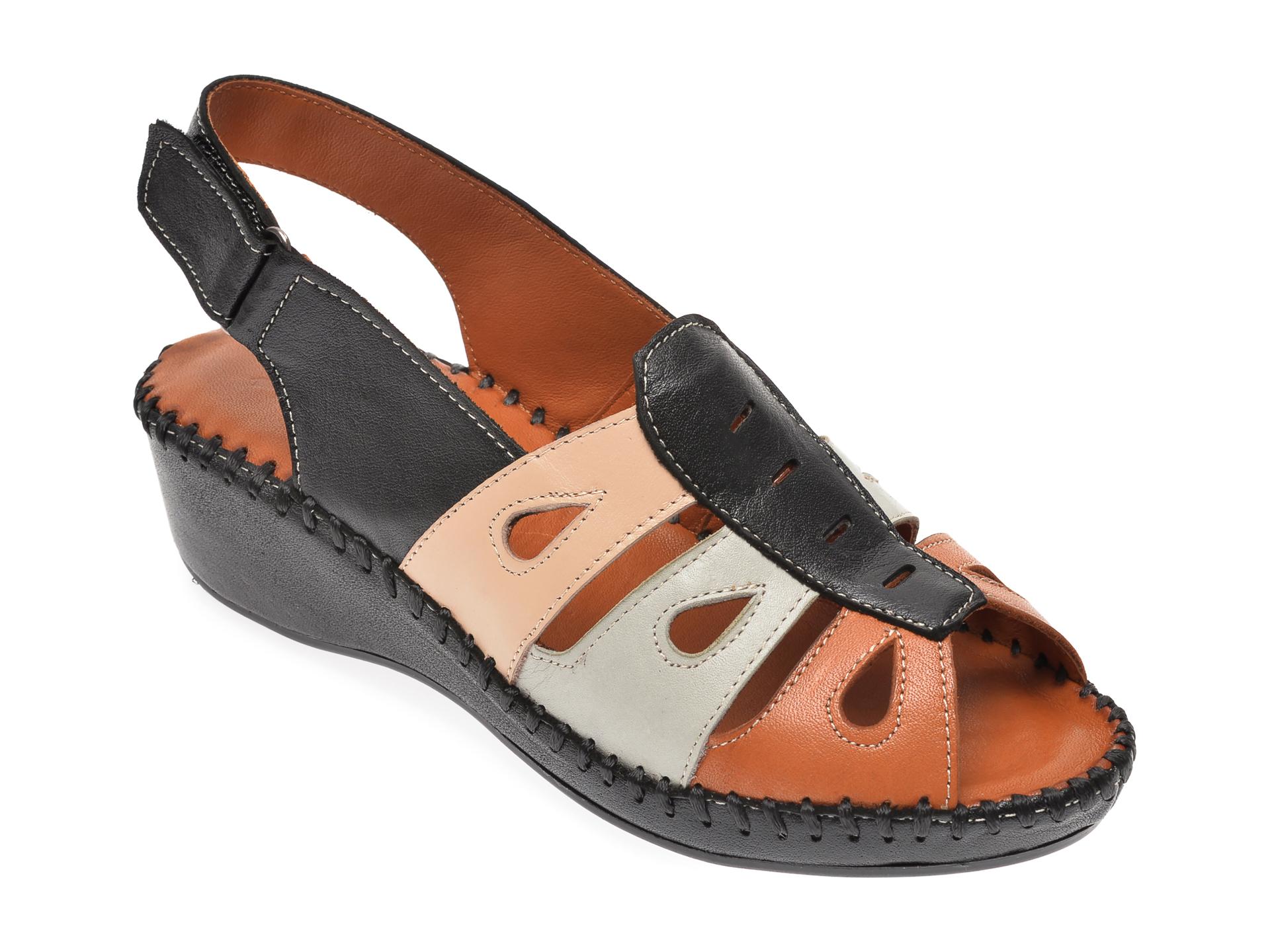Sandale PASS COLLECTION negre, 3166, din piele naturala