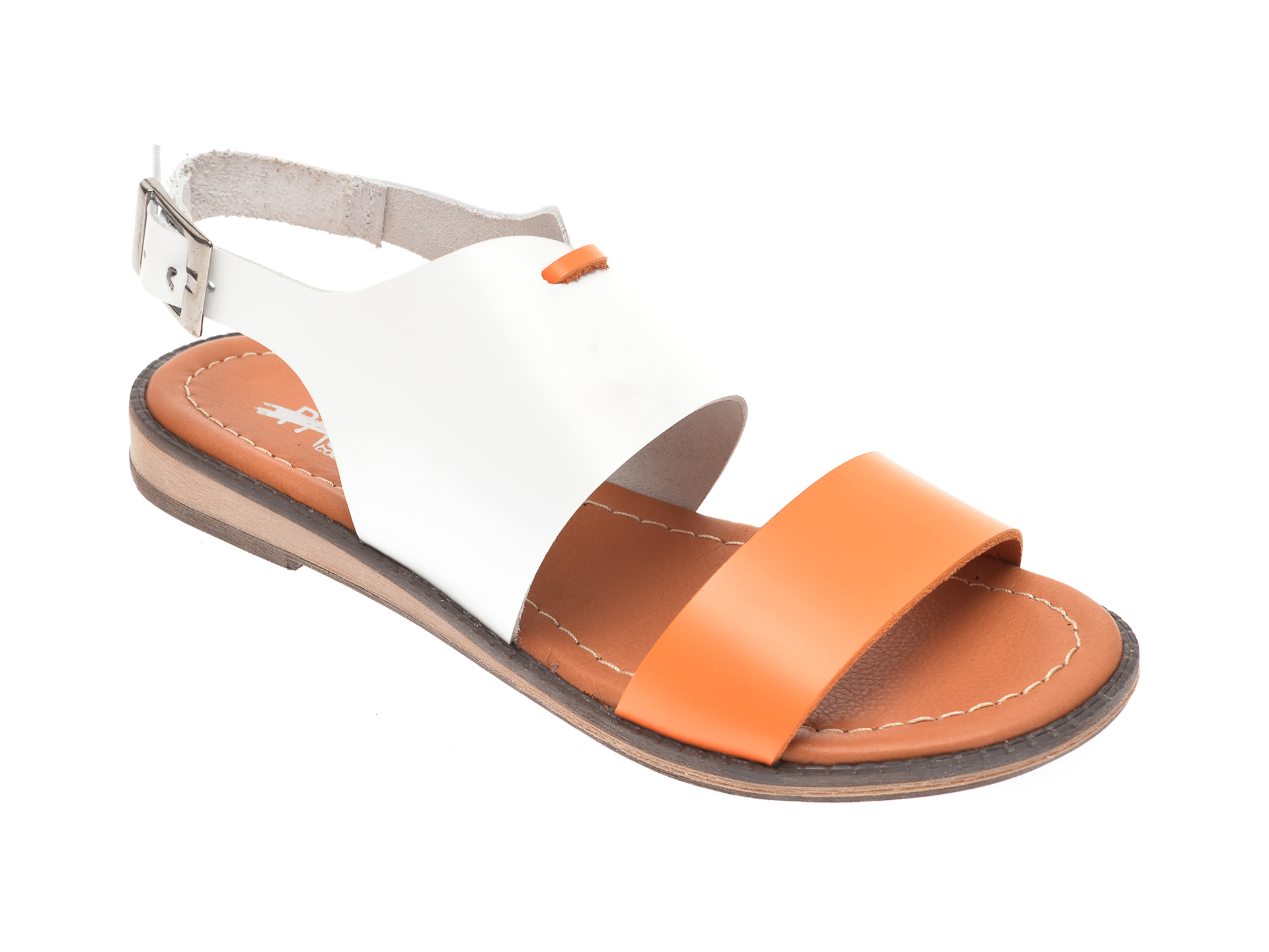 Sandale PASS COLLECTION portocalii, 1013K, din piele naturala