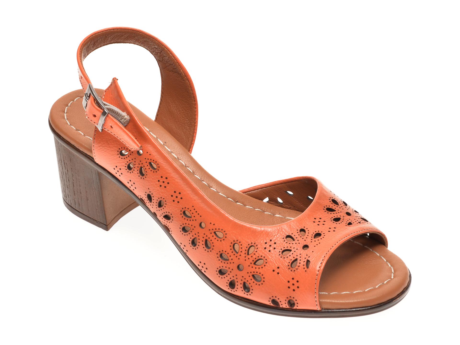 Sandale PASS COLLECTION portocalii, 105, din piele naturala