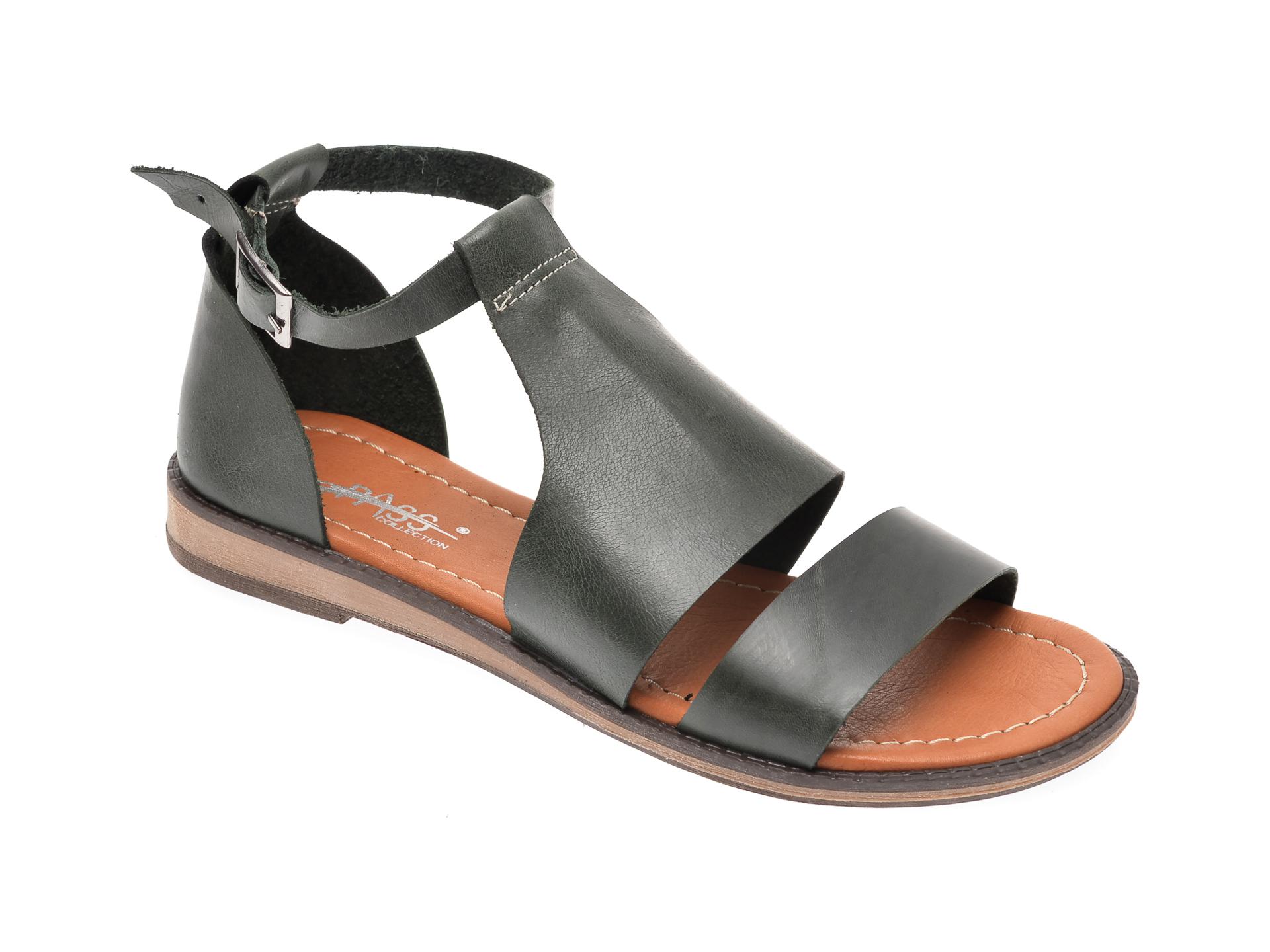Sandale PASS COLLECTION verzi, 1004K, din piele naturala