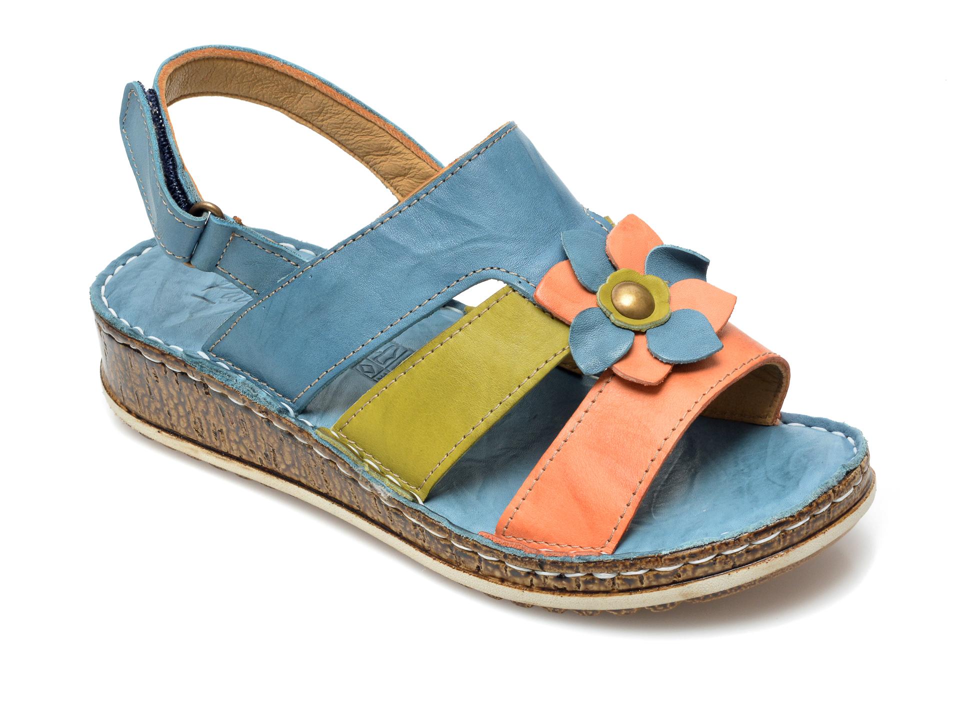 Sandale PAVARELLA albastre, 1339, din piele naturala imagine otter.ro 2021