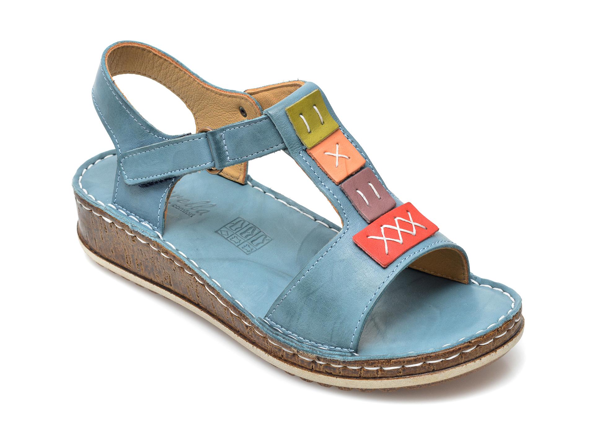 Sandale PAVARELLA albastre, 1341, din piele naturala imagine otter.ro 2021