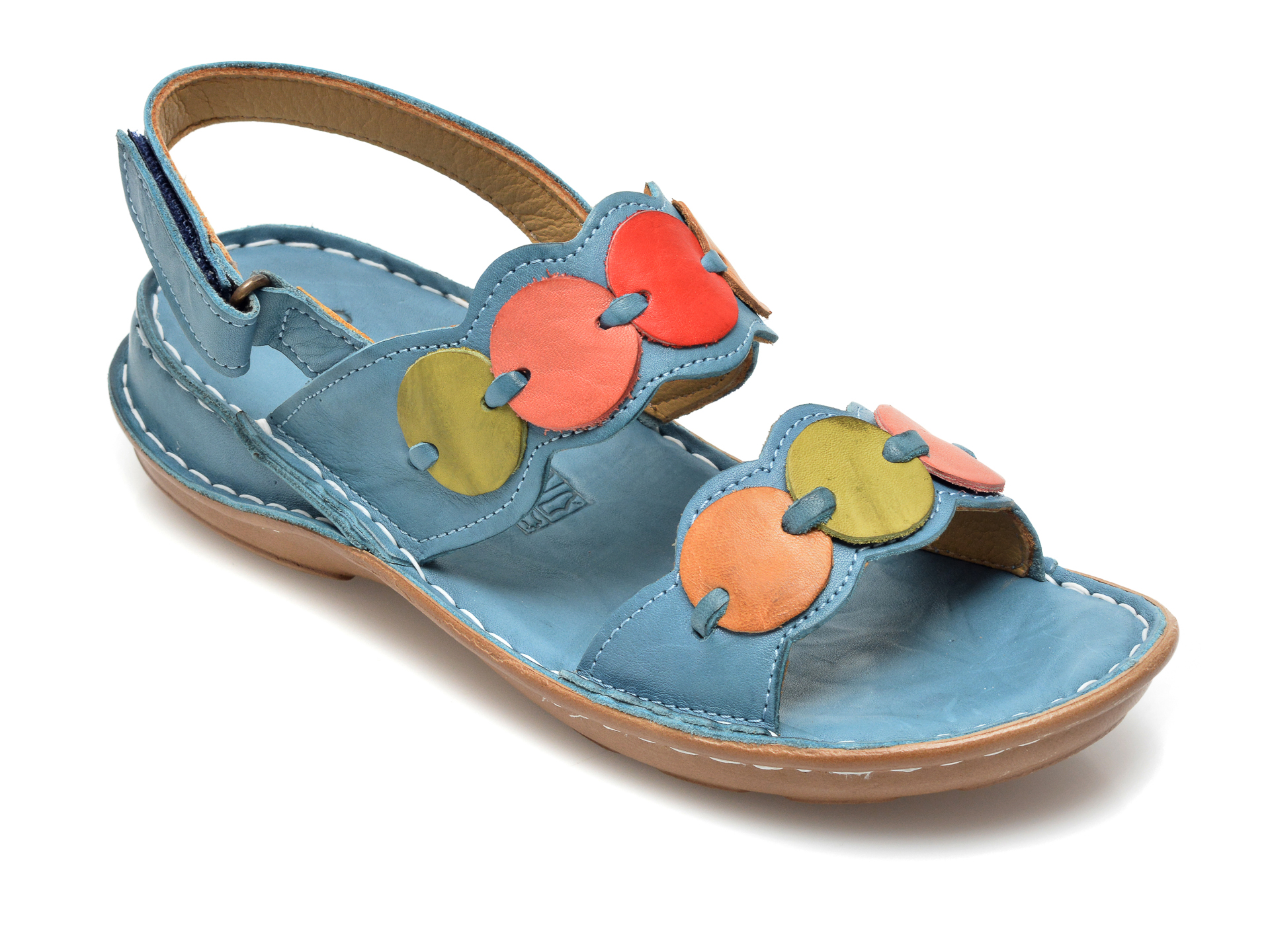Sandale PAVARELLA albastre, 3001433, din piele naturala imagine otter.ro 2021
