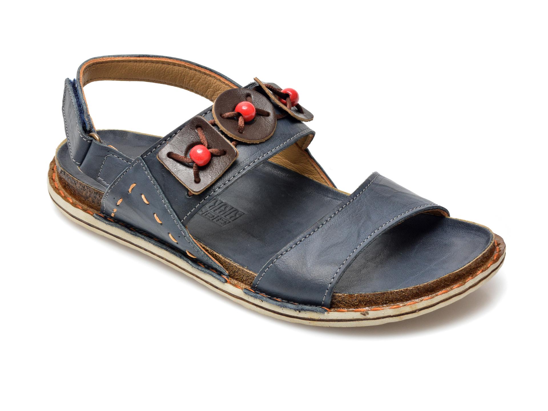 Sandale PAVARELLA bleumarin, 1235, din piele naturala imagine otter.ro