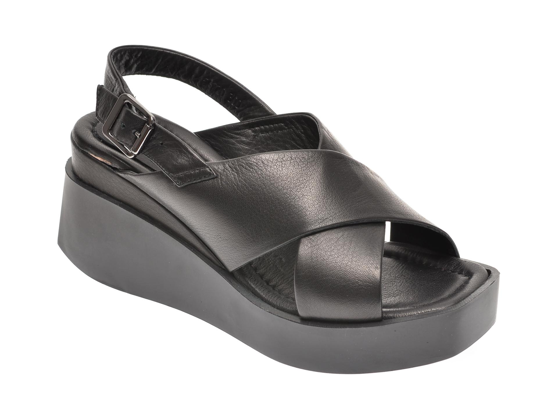 Sandale PRIMOVALERIO negre, 56220, din piele naturala