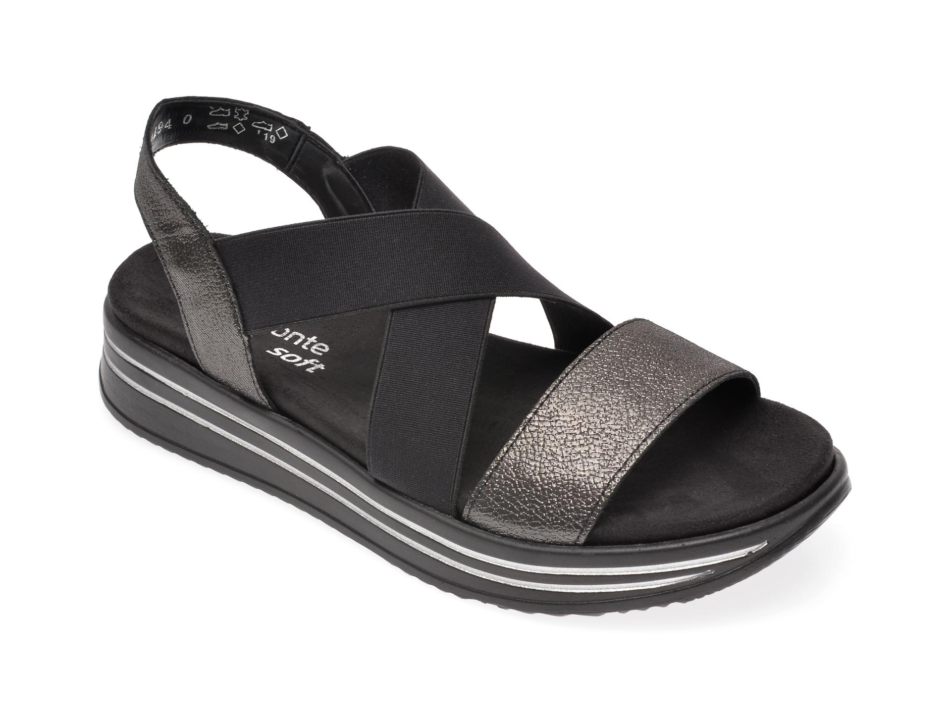 Sandale REMONTE negre, R2954, din material textil si piele naturala