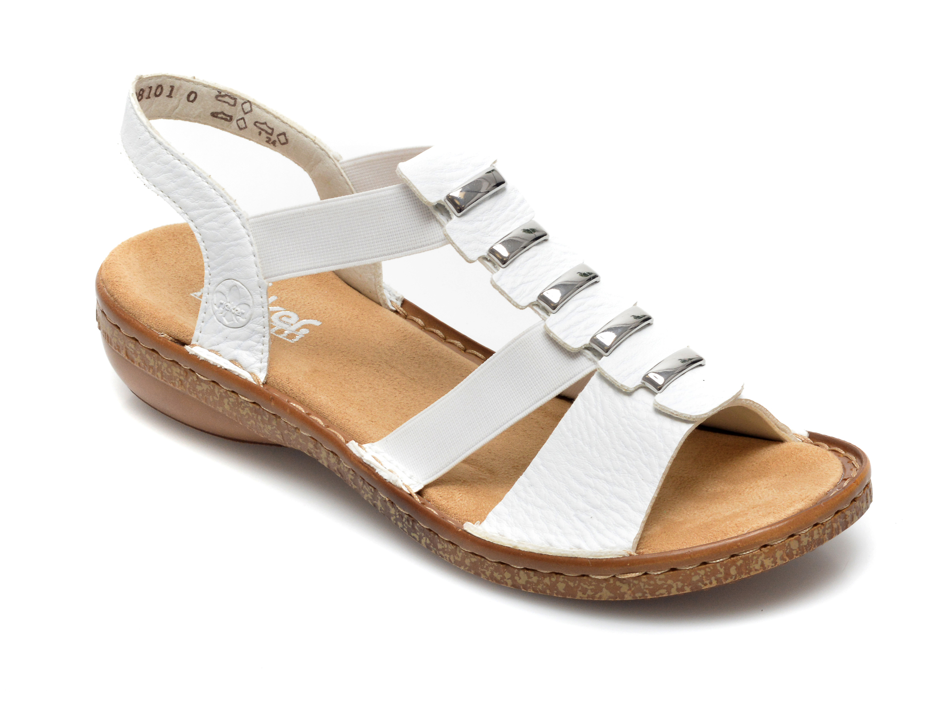 Sandale RIEKER albe, 62850, din piele ecologica imagine otter.ro 2021