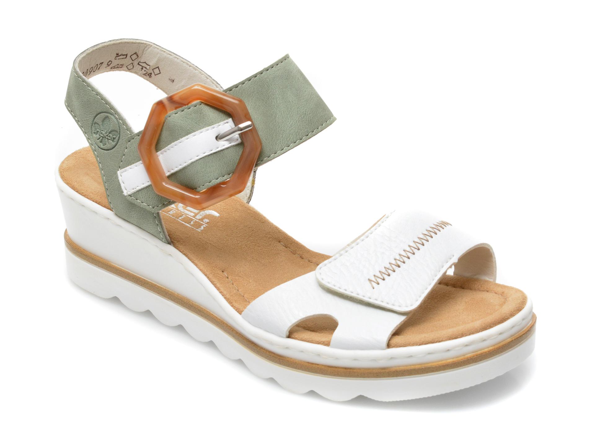 Sandale RIEKER albe, 67476, din piele ecologica imagine otter.ro