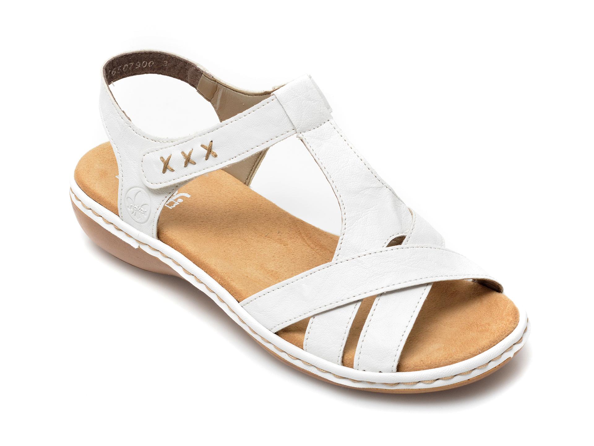 Sandale RIEKER albe, 69919, din piele naturala imagine otter.ro 2021
