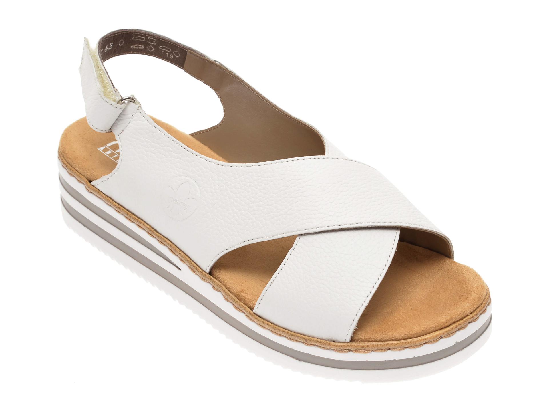 Sandale RIEKER albe, V0271, din piele naturala