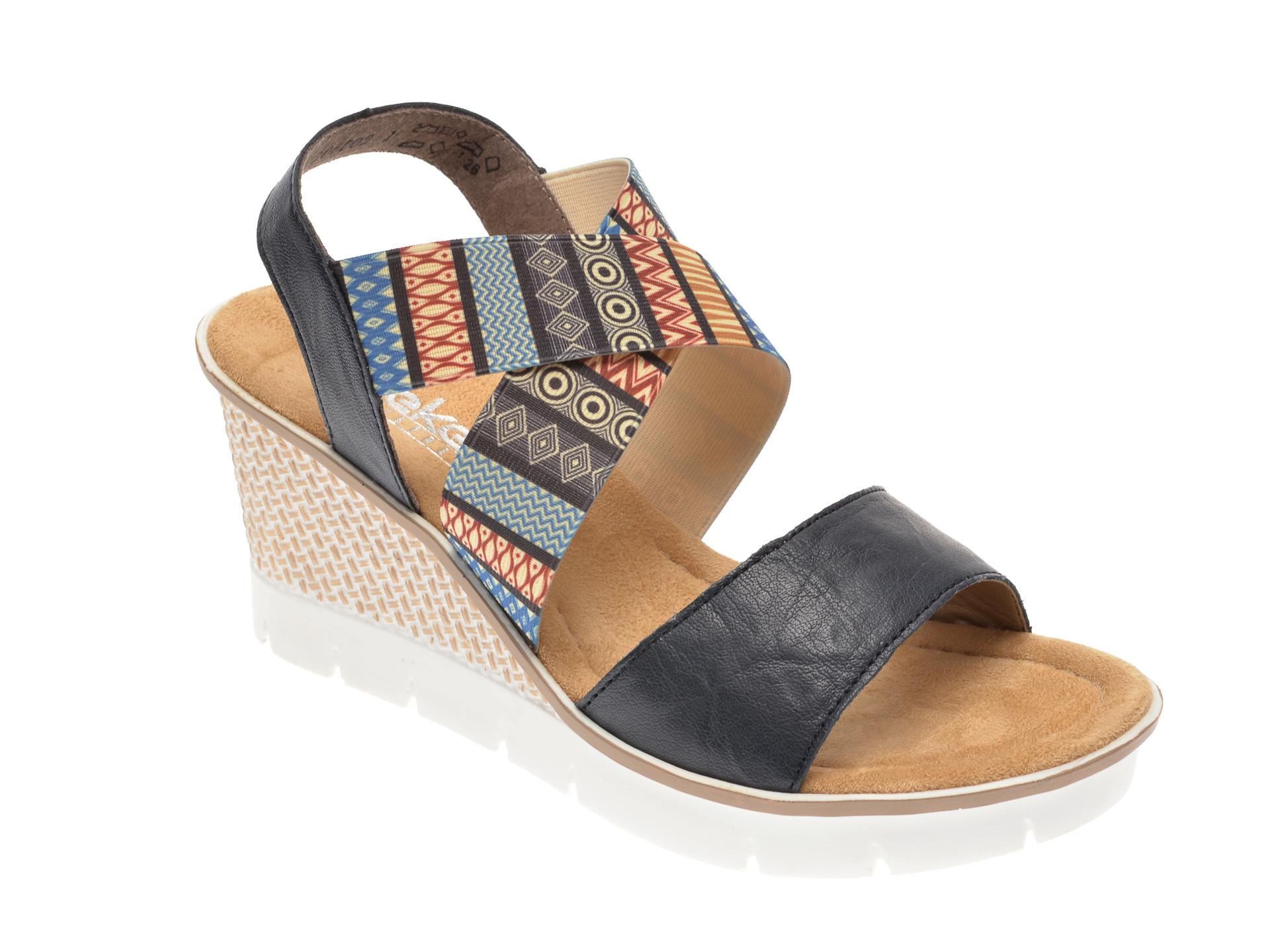 Sandale RIEKER bleumarin, 68518, din material textil si piele naturala