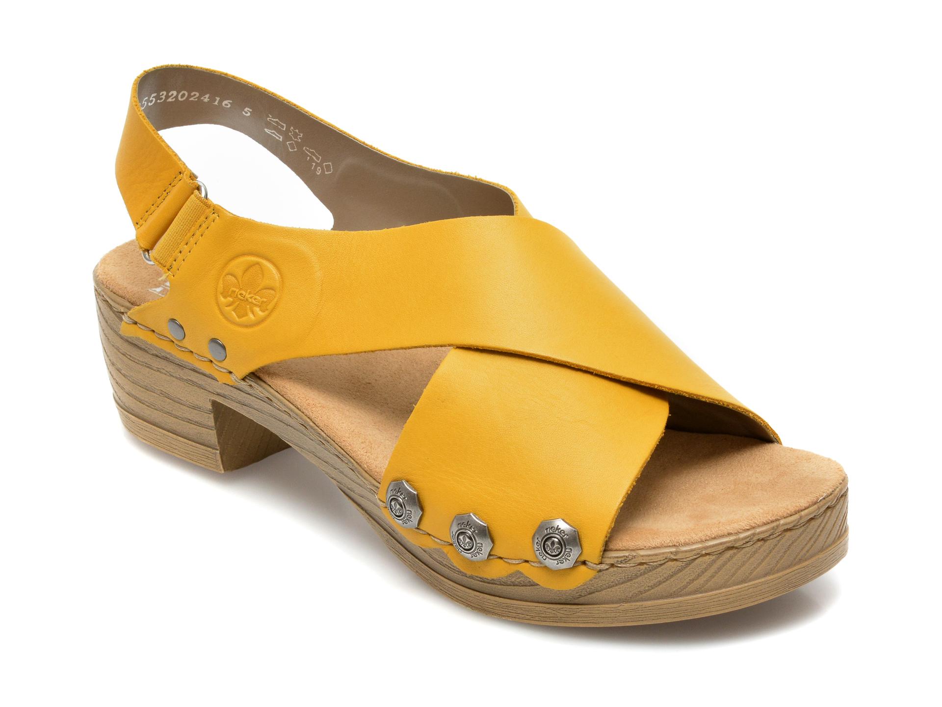 Sandale RIEKER galbene, V6888, din piele ecologica imagine otter.ro 2021