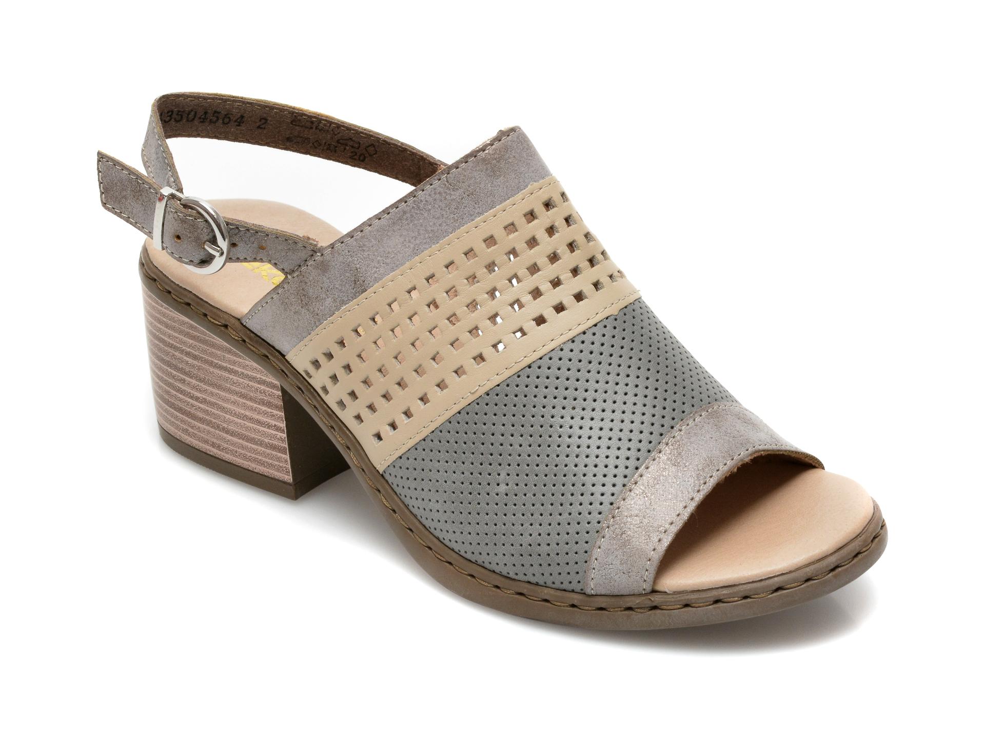 Sandale RIEKER gri, V0575, din piele ecologica