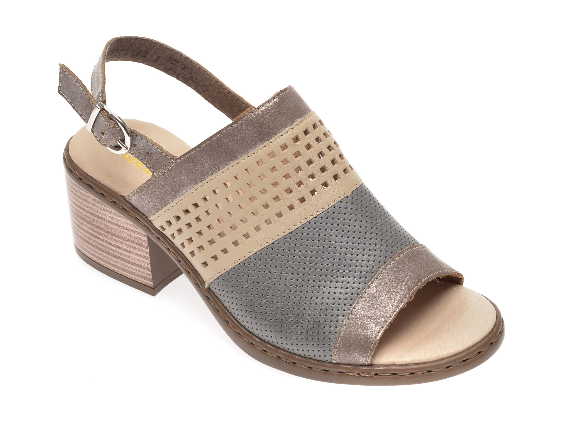 Sandale RIEKER gri, V0575, din piele naturala