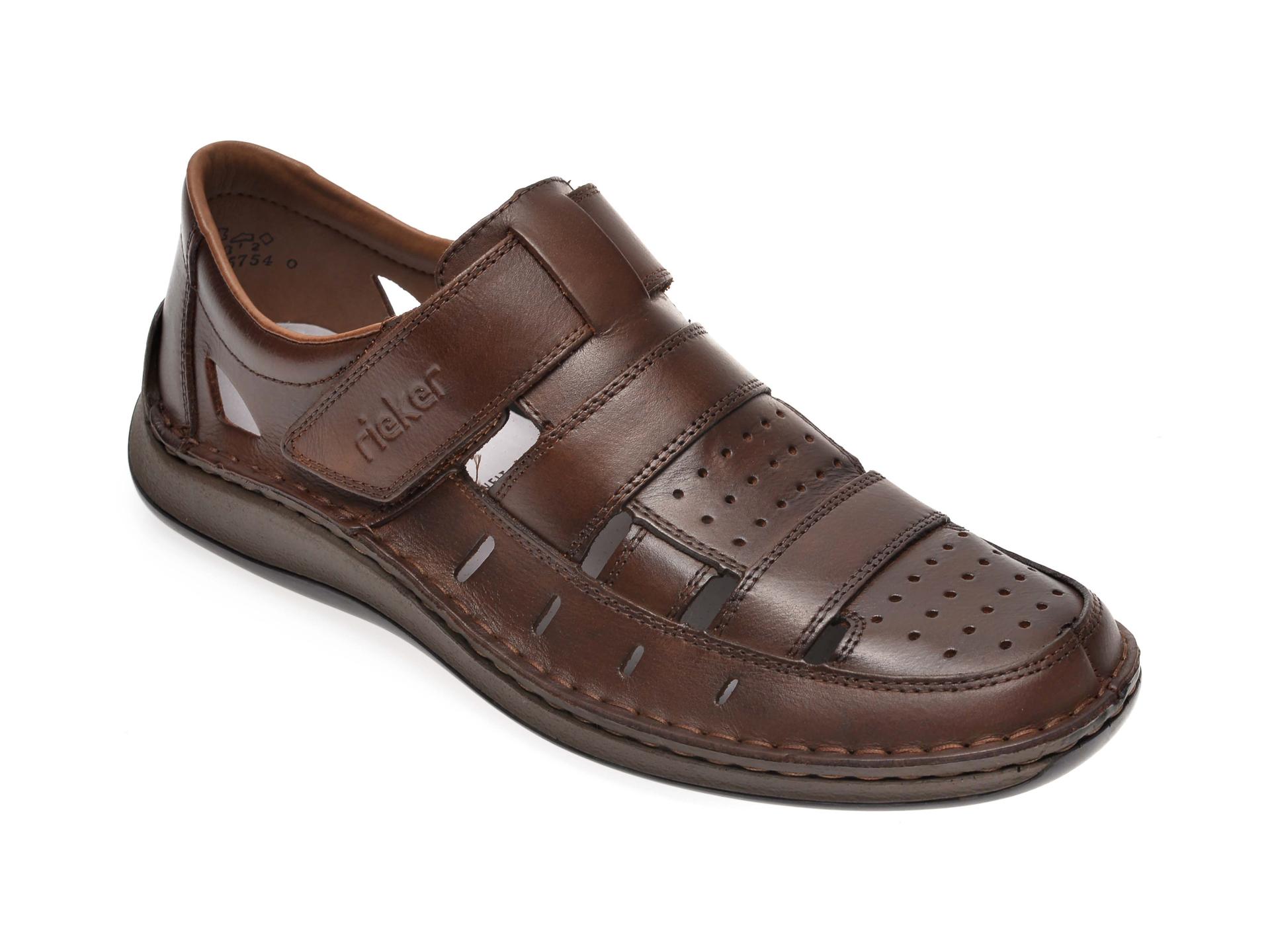 Sandale RIEKER maro, 05268, din piele naturala imagine