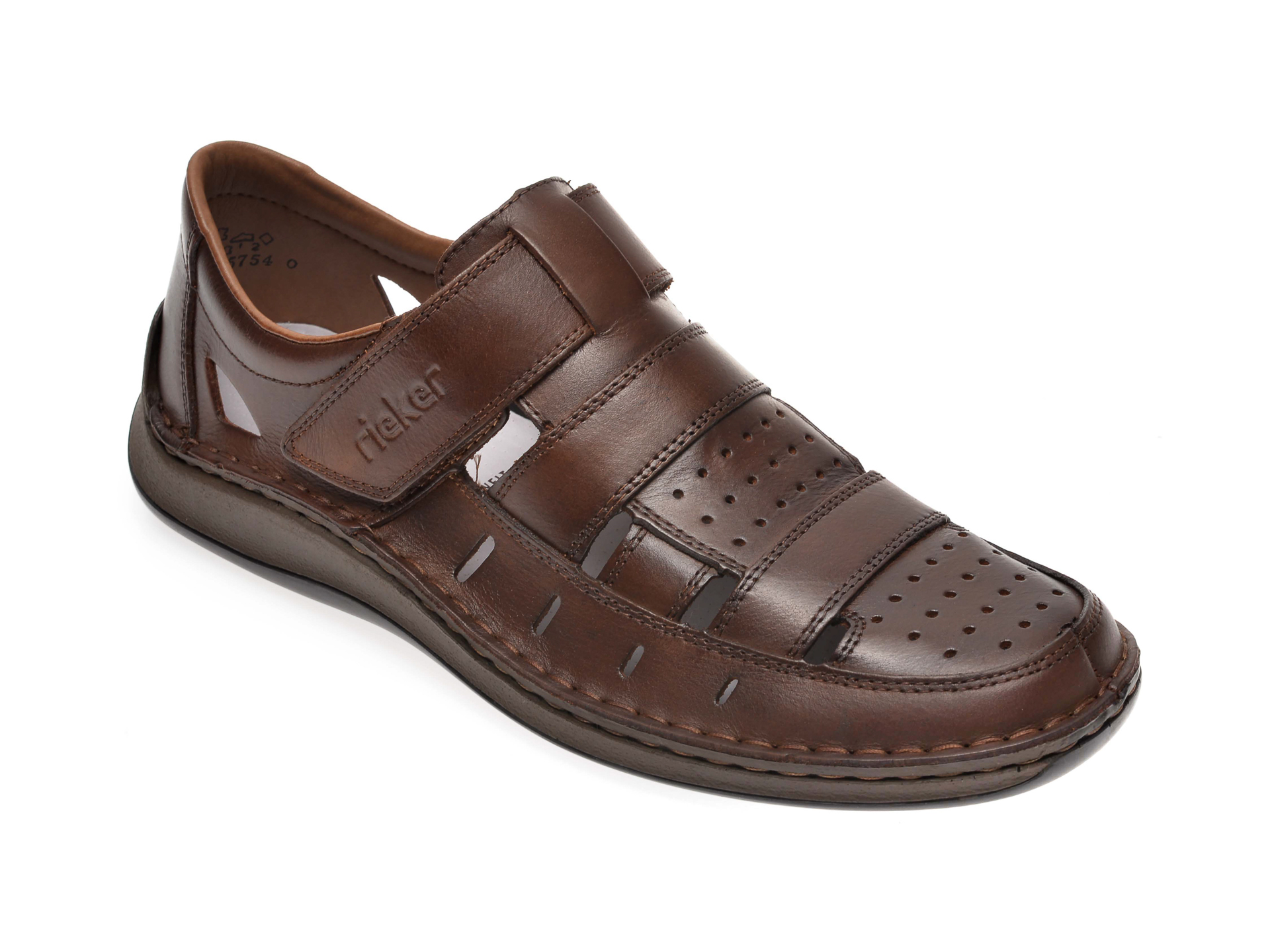 Sandale RIEKER maro, 05268, din piele naturala imagine otter.ro