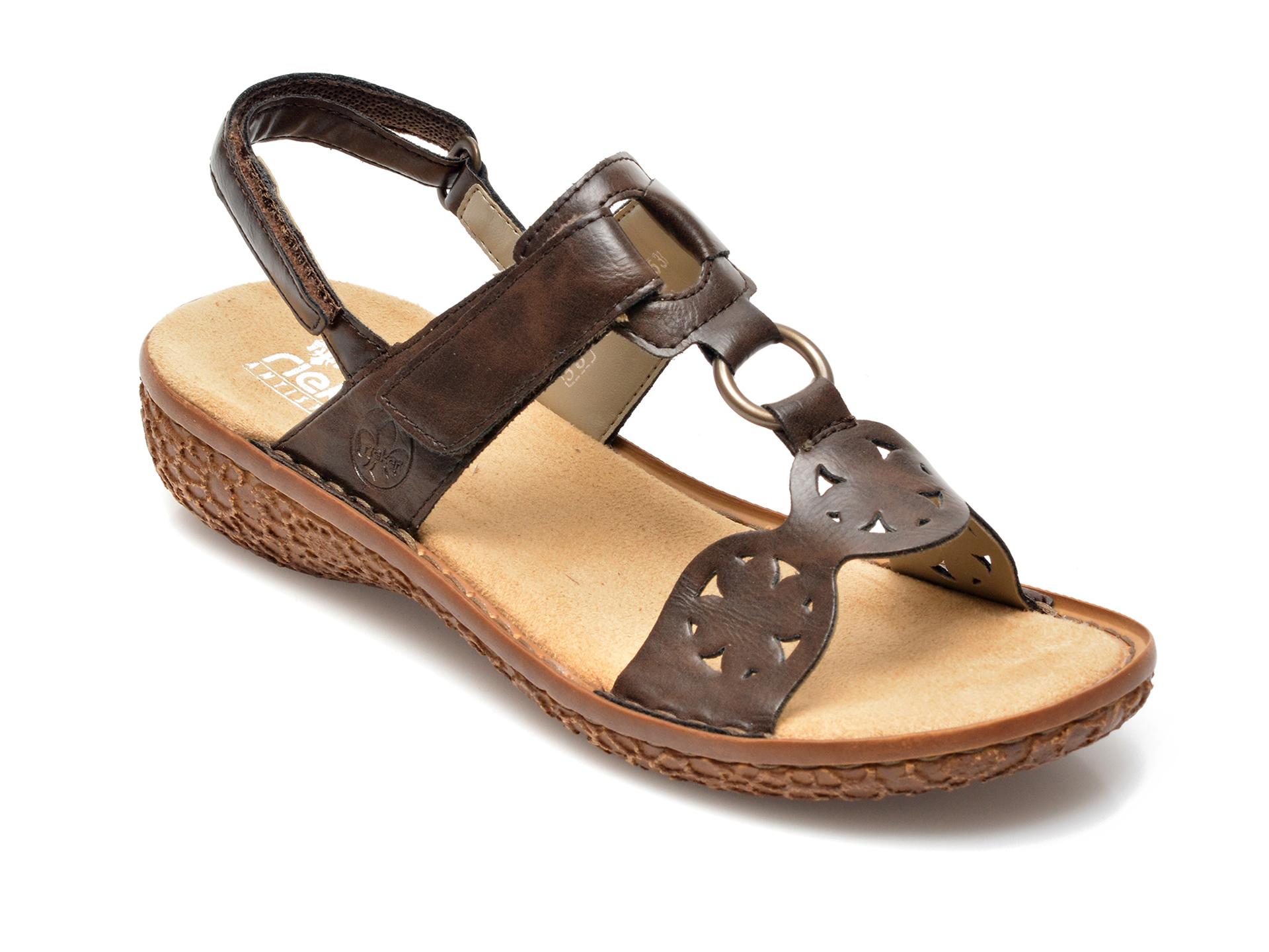 Sandale RIEKER maro, V69T7, din piele ecologica imagine otter.ro 2021