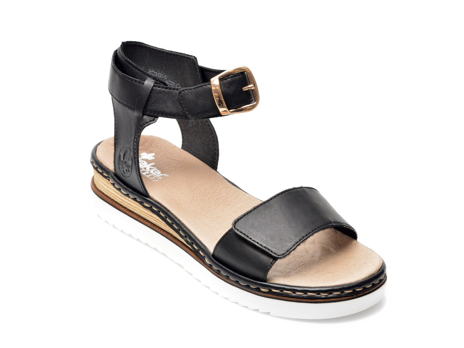 Sandale RIEKER negre, 67952, din piele naturala imagine otter.ro 2021