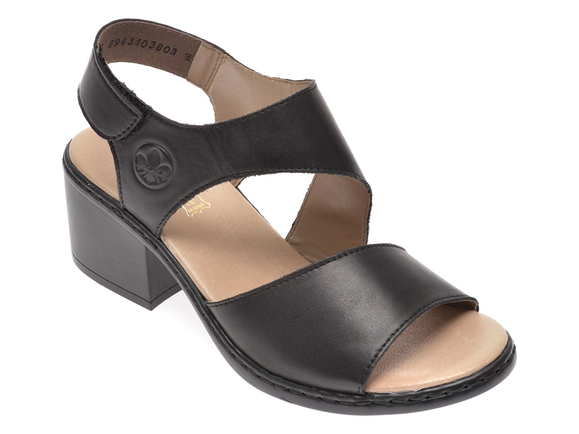 Sandale Rieker Negre, V0570, Din Piele Naturala