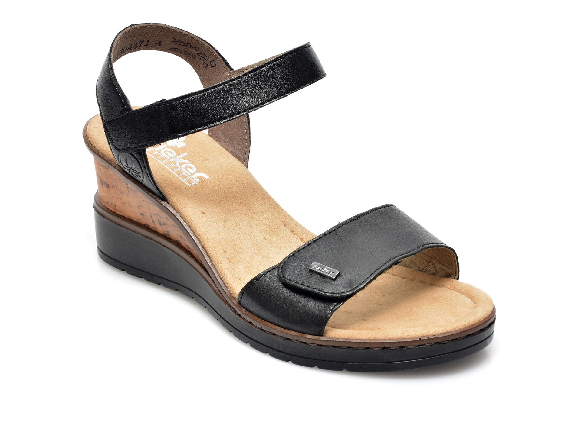 Sandale RIEKER negre, V3554, din piele naturala imagine otter.ro 2021