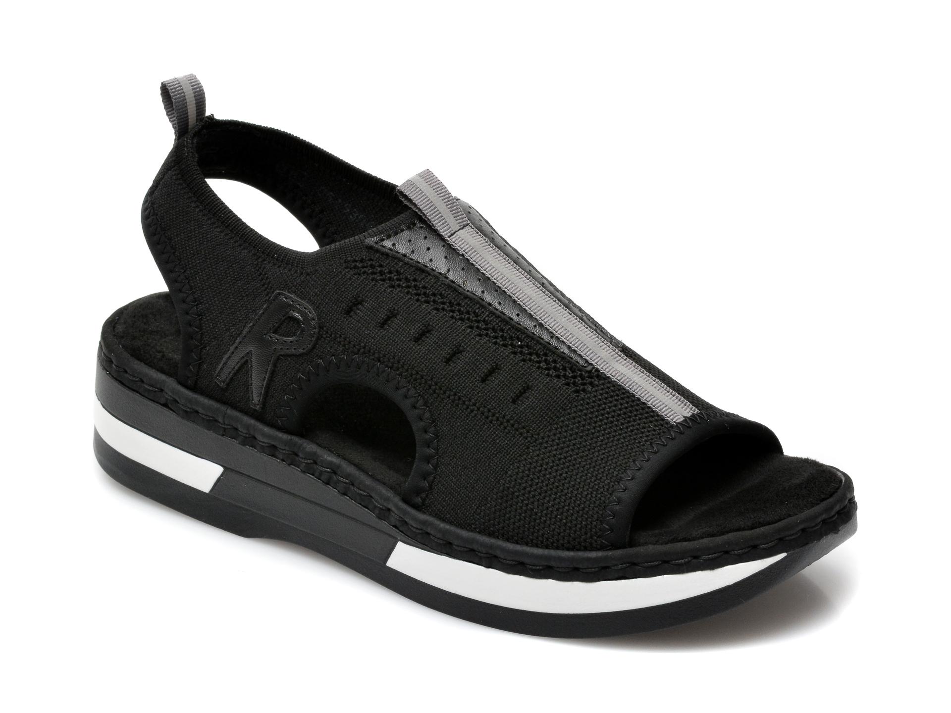 Sandale RIEKER negre, V59B5, din material textil imagine otter.ro 2021