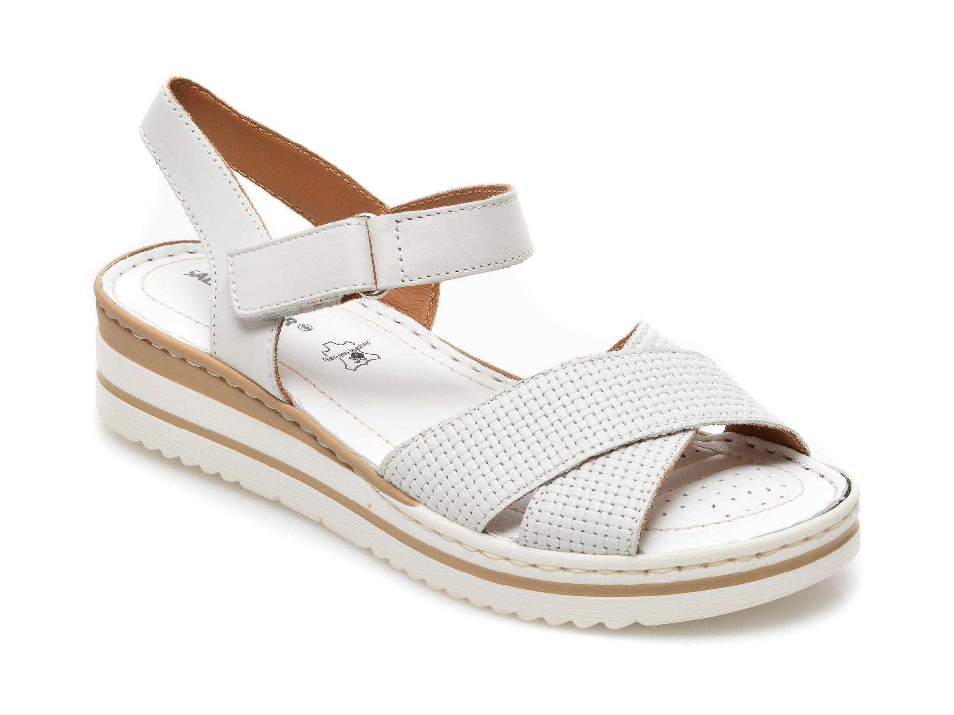 Sandale SALAMANDER albe, 34101, din piele naturala imagine otter.ro 2021