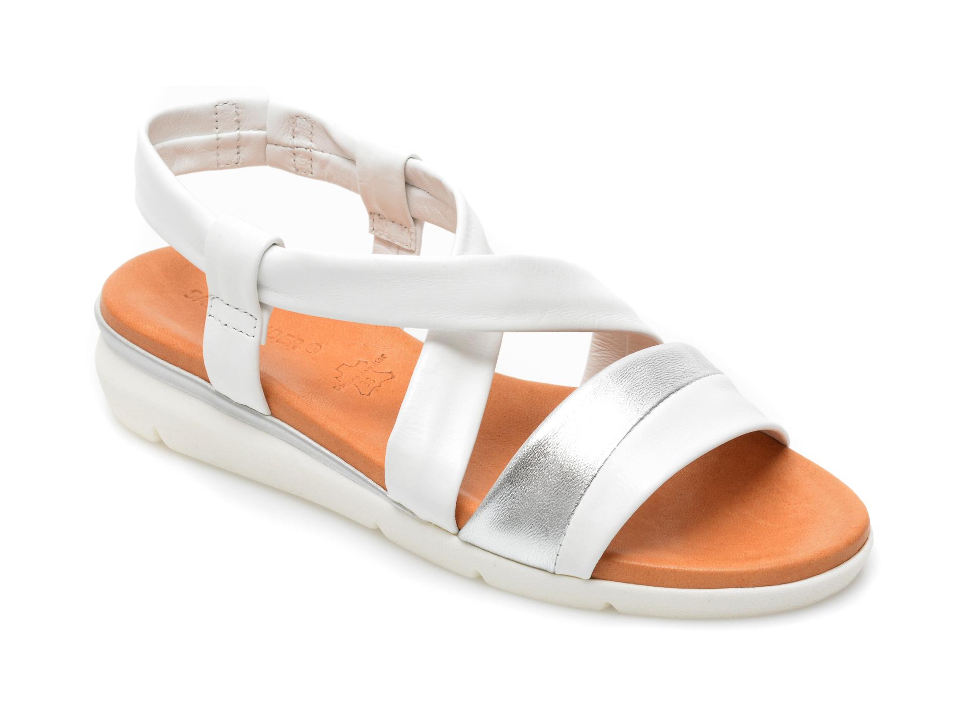 Sandale SALAMANDER albe, 73202, din piele naturala imagine otter.ro
