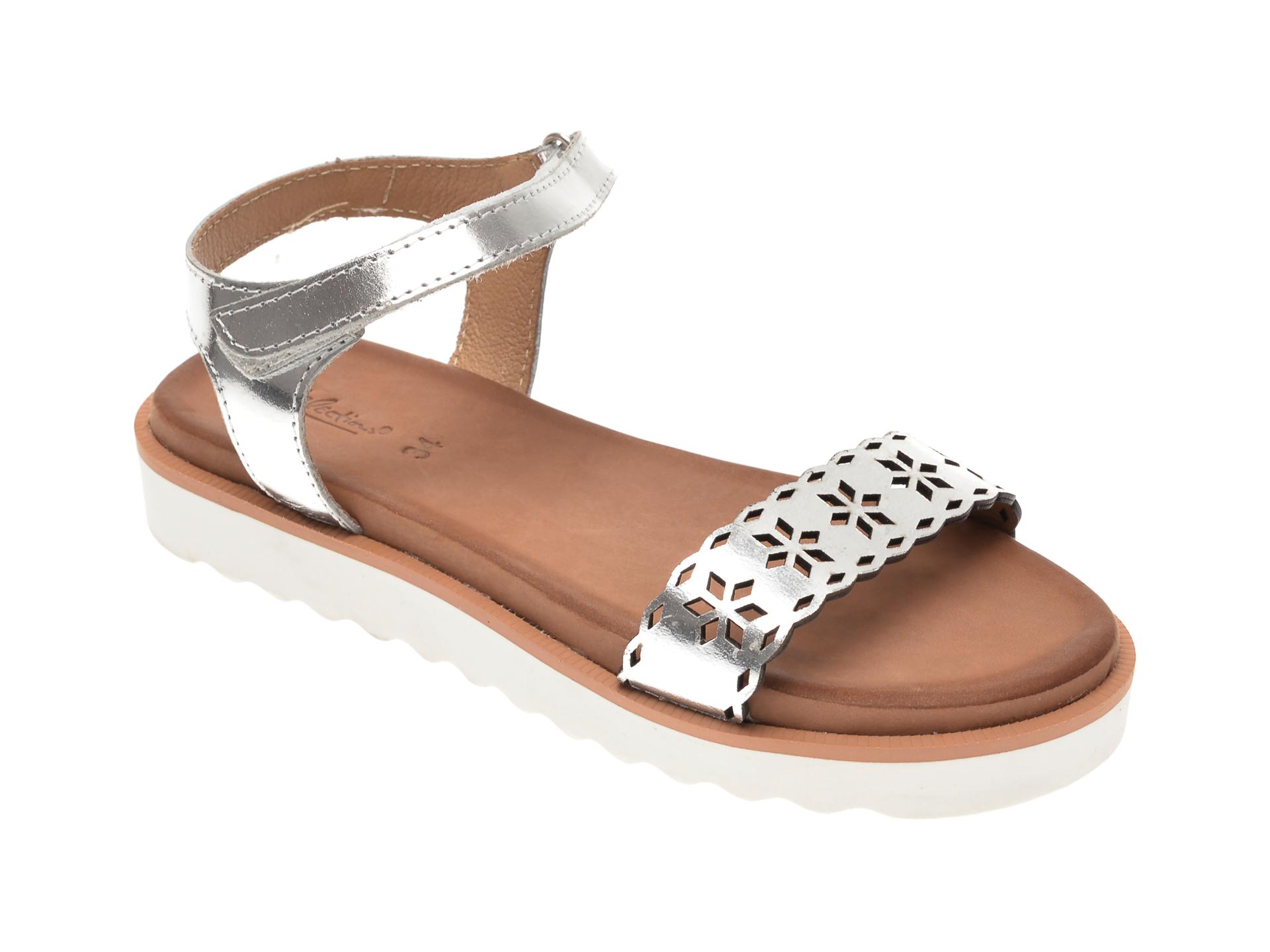 Sandale SELECTION KIDS argintii, SH17, din piele naturala