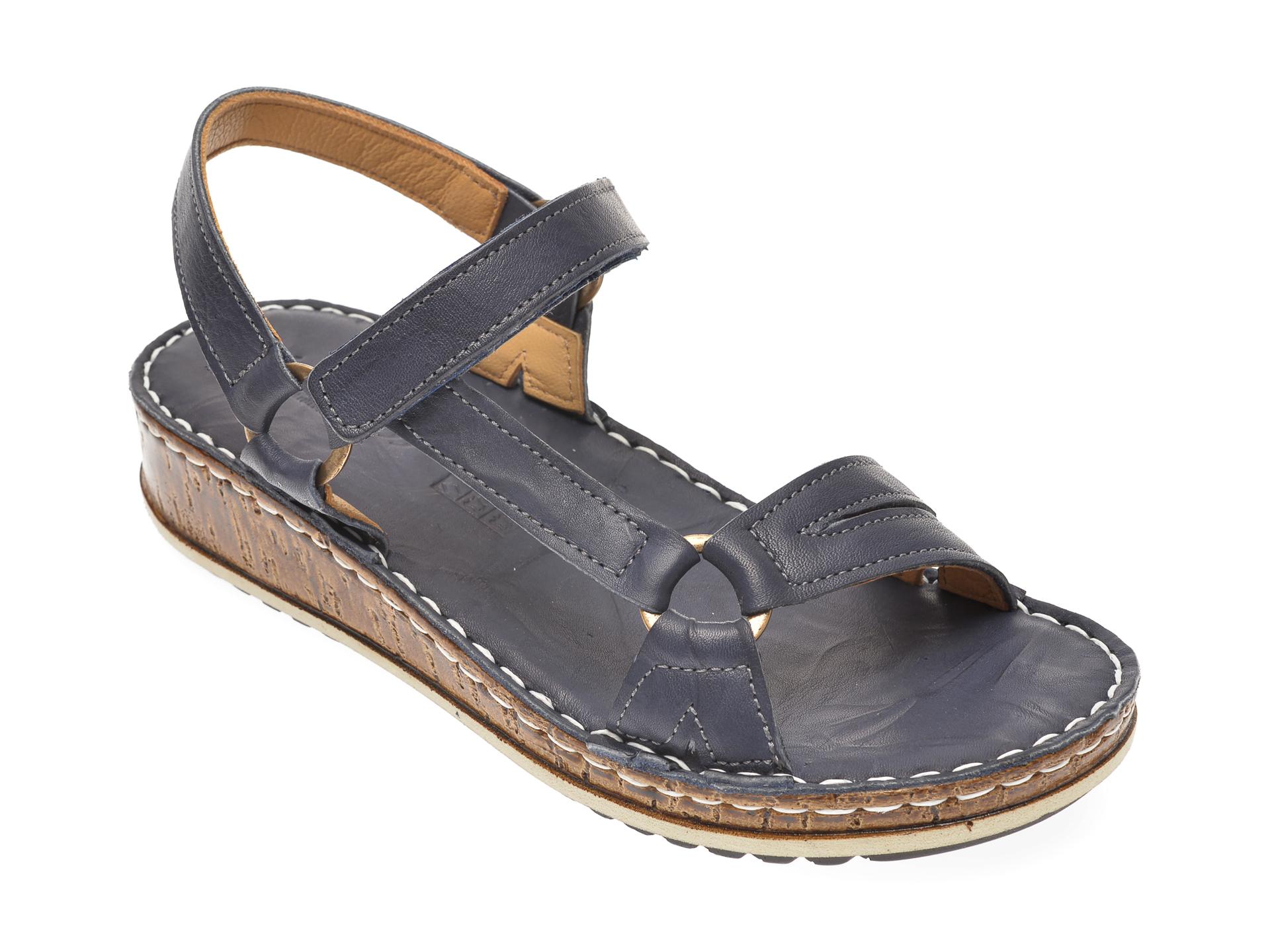 Sandale SINESTRESS bleumarin, 1326, din piele naturala