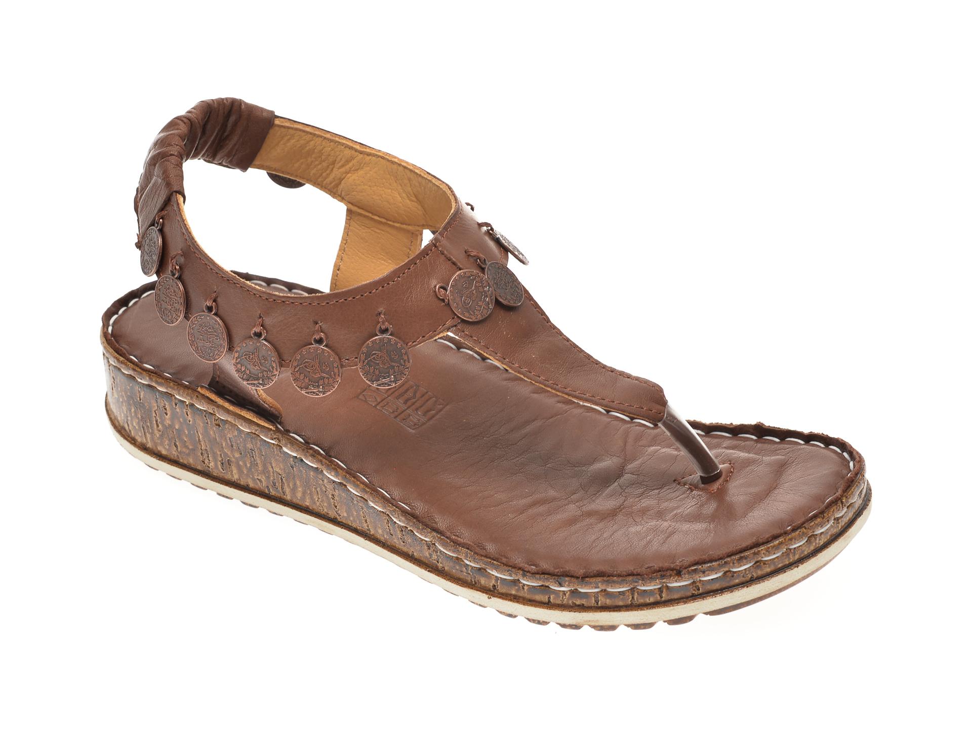 Sandale SINESTRESS maro, 1316A, din piele naturala