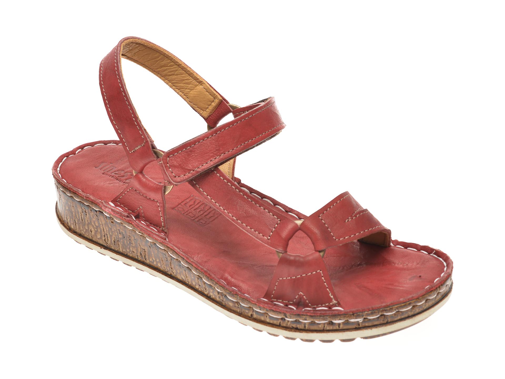 Sandale SINESTRESS visiniu, 1326, din piele naturala