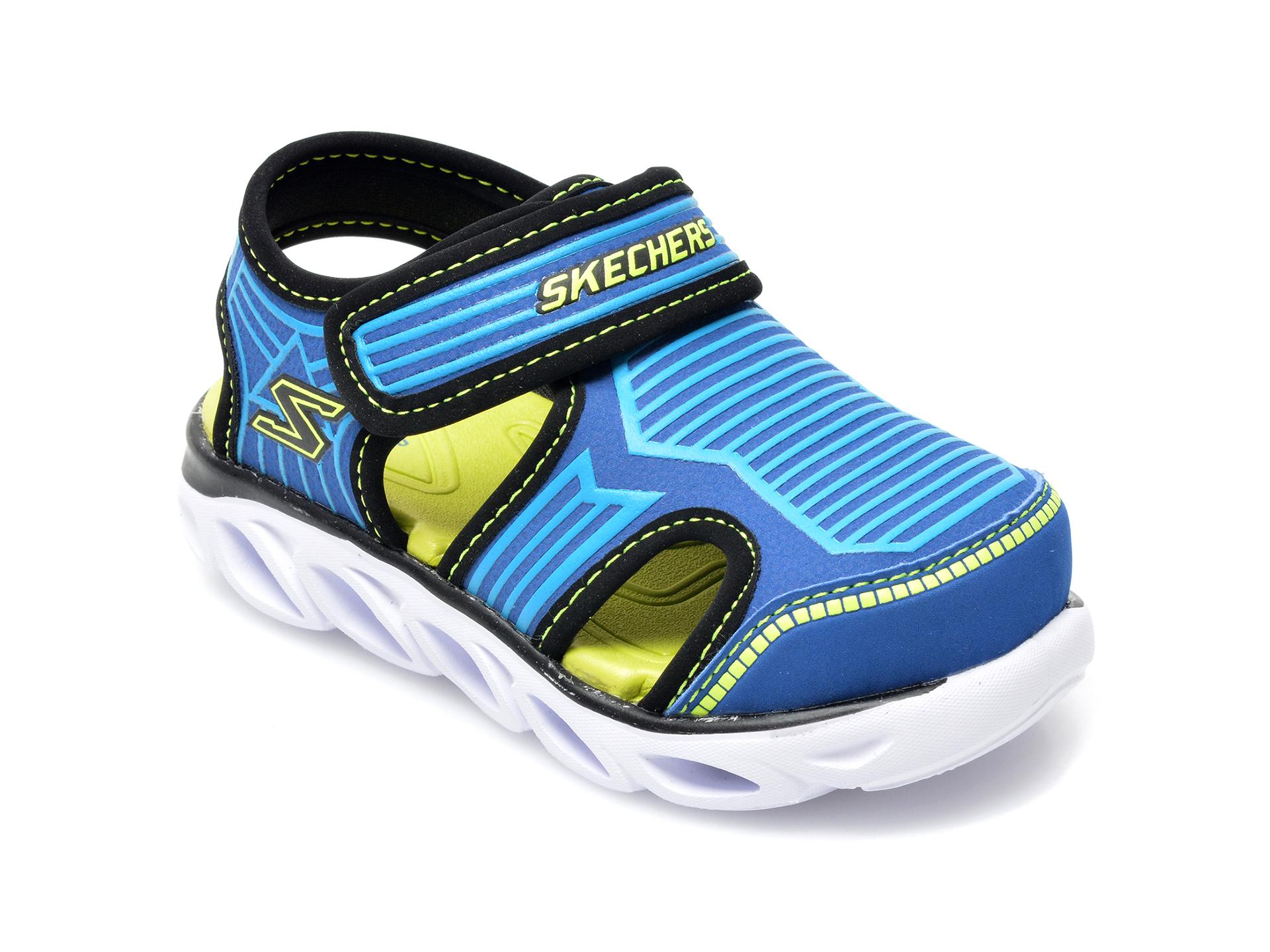 Sandale SKECHERS albastre, Hypno-Splash Zotex, din piele ecologica